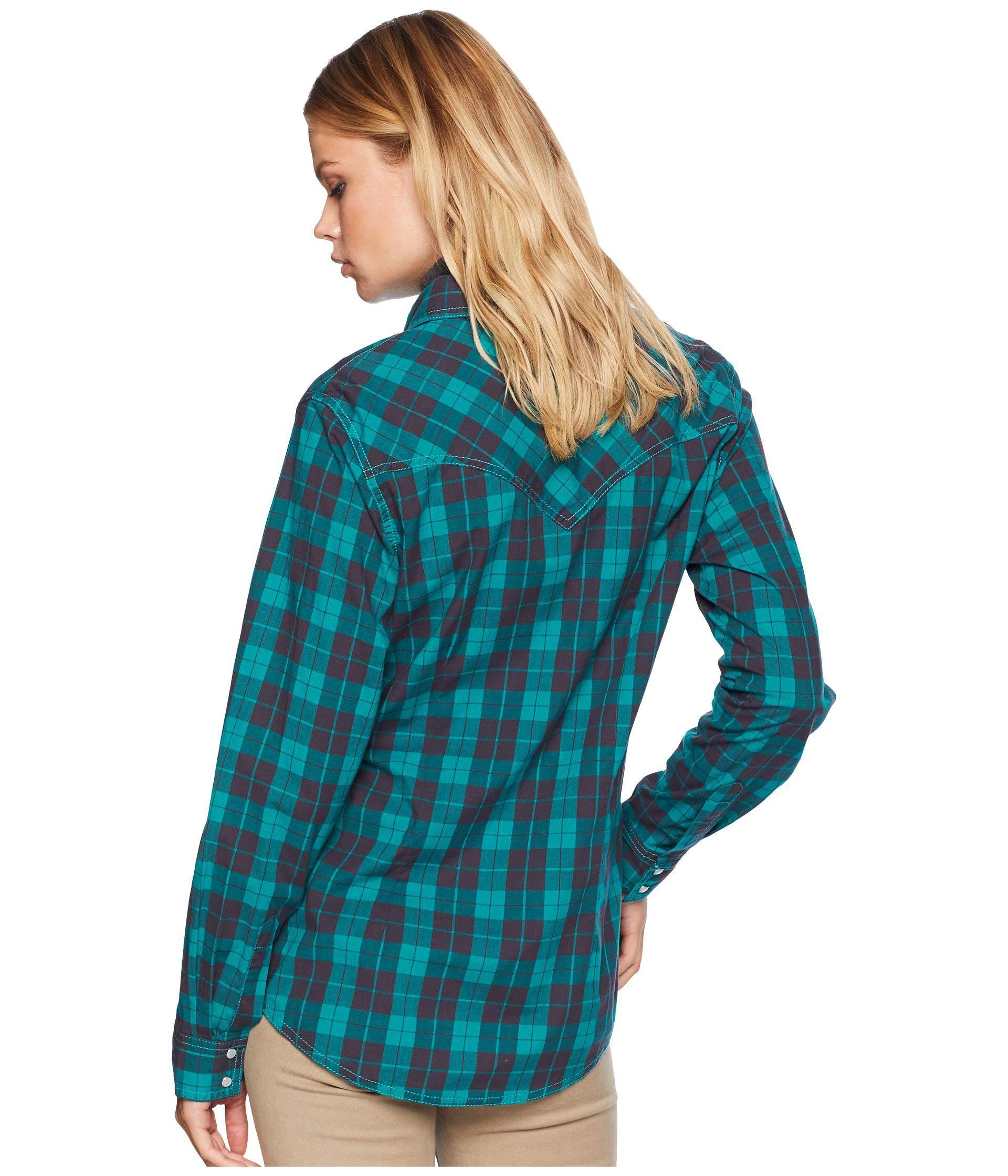 Wrangler Womens Long Sleeve Woven Plaid Snap