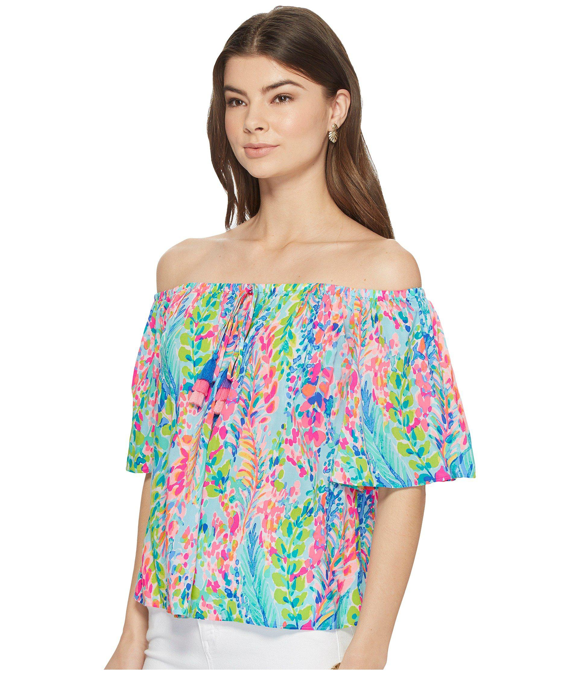 c1d70ed8c639b Lyst - Lilly Pulitzer Sain Off-the-shoulder Top (multi Catch The Wave)  Women s Clothing