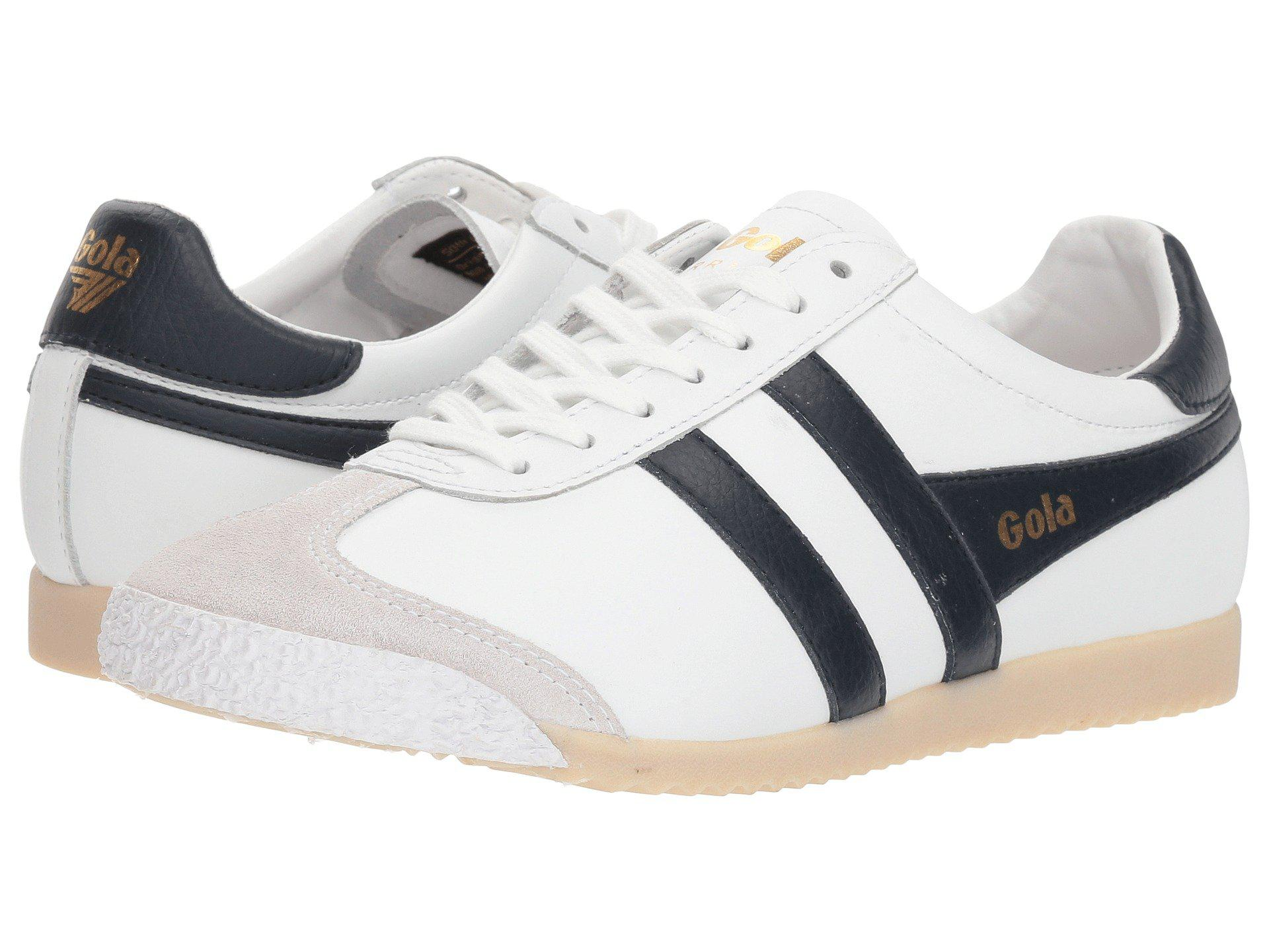 Gola Harrier 50 Leather Trainer(Men's) -White/Red Leather Free Shipping Best 0j9c0DZ