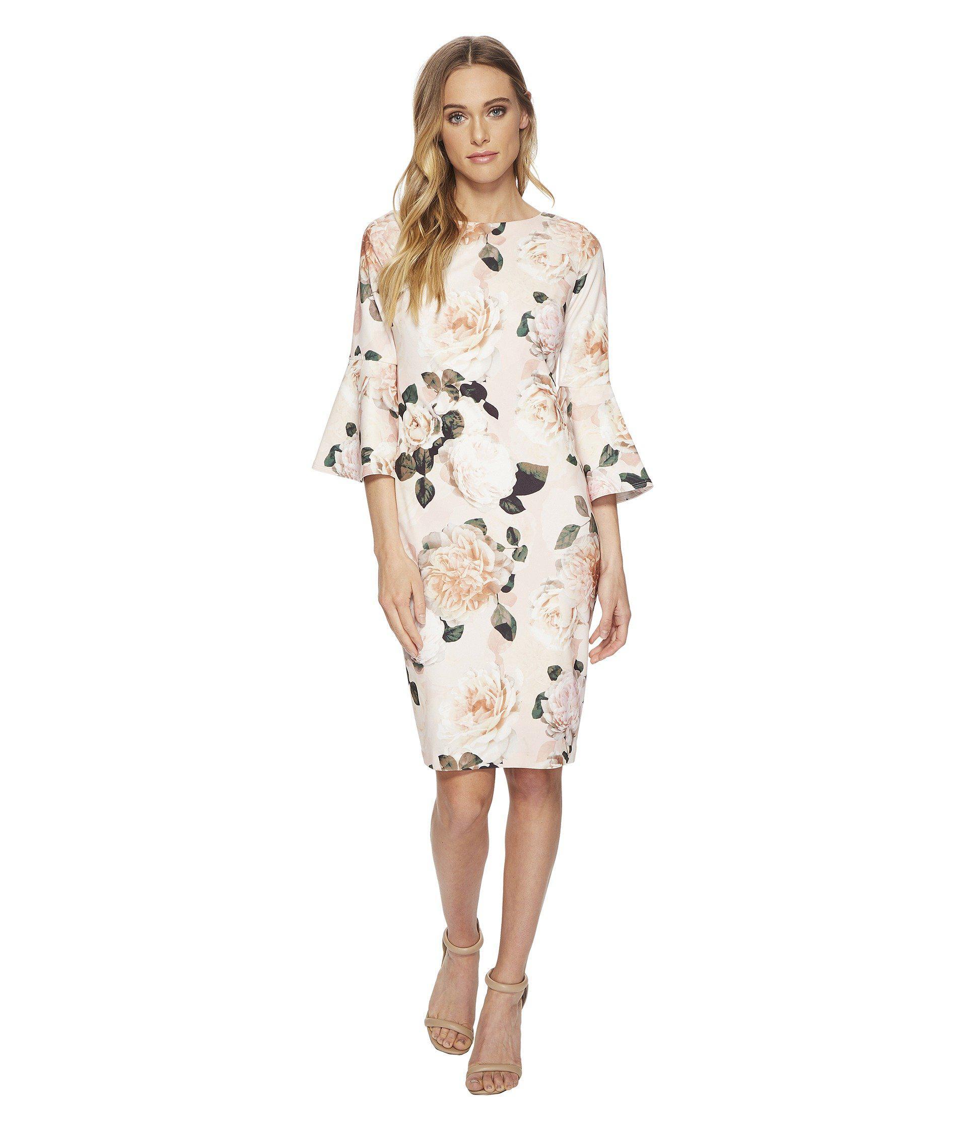 602120e965406 Lyst - Calvin Klein Floral Print Bell Sleeve Cd8c733e (blush Multi ...