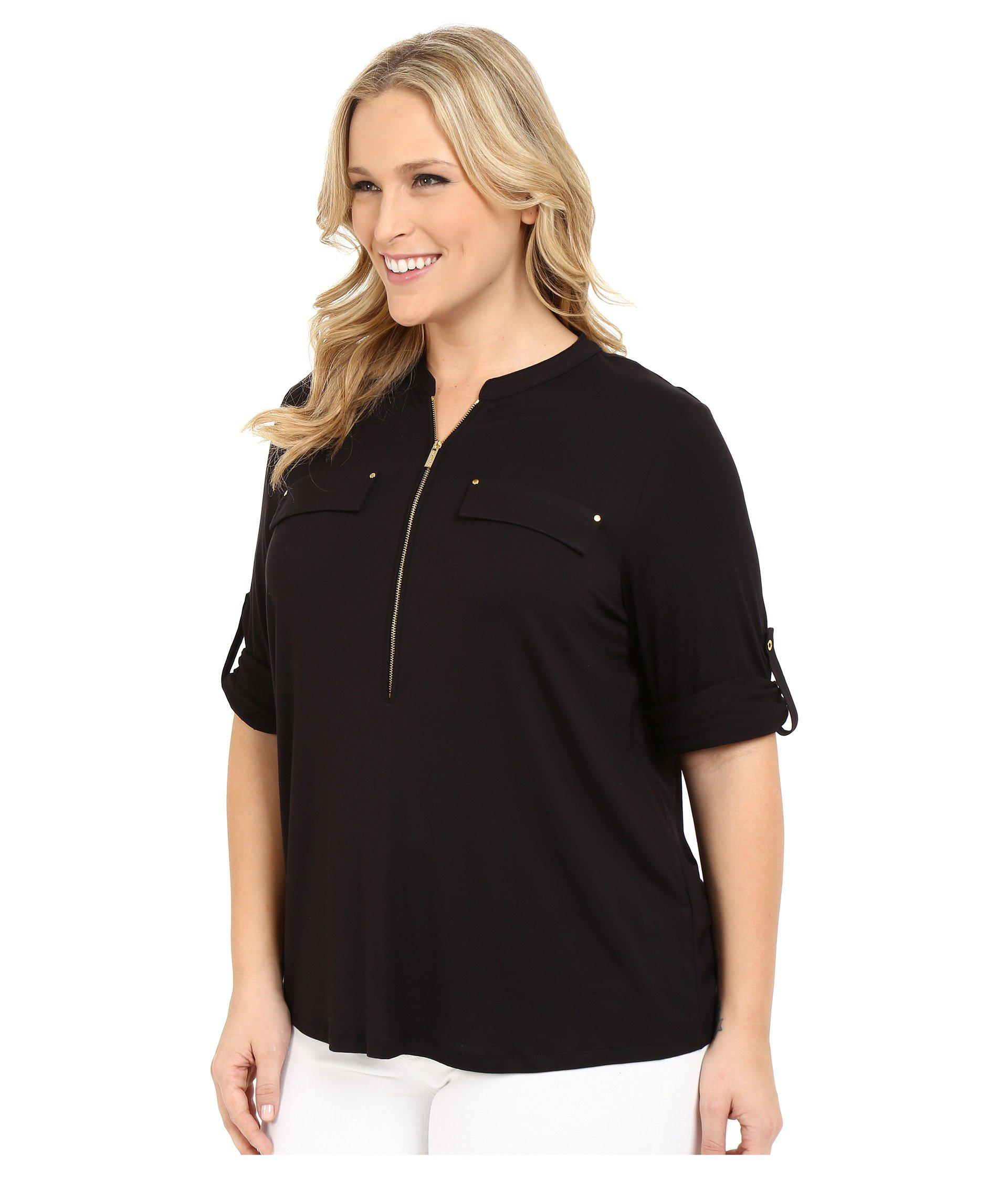 276991c1fbbfc Lyst - Calvin Klein Plus Size Zip Front Roll Sleeve (black) Women s Blouse  in Black