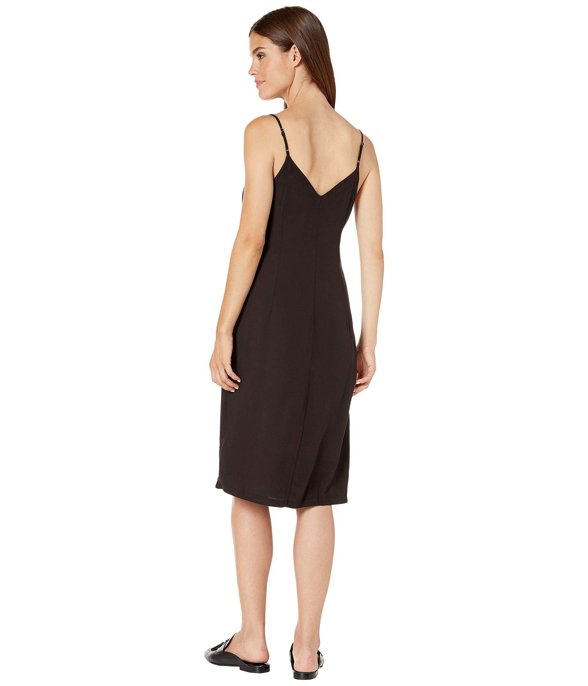 Splendid Synthetic Button Front Midi Slip Dress in Black ...