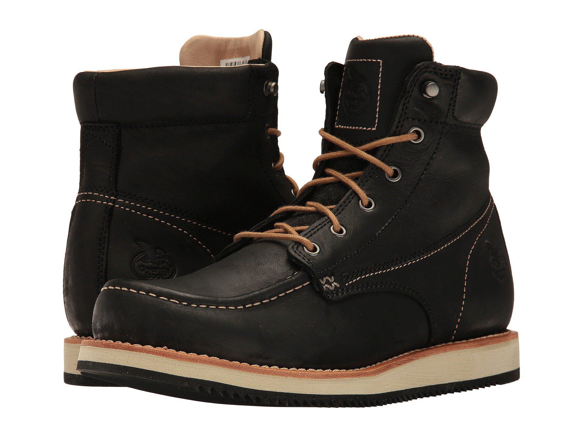 cd6602850cd Lyst - Georgia Boot Small Batch 6 Moc Toe Wedge (black) Men s Work ...