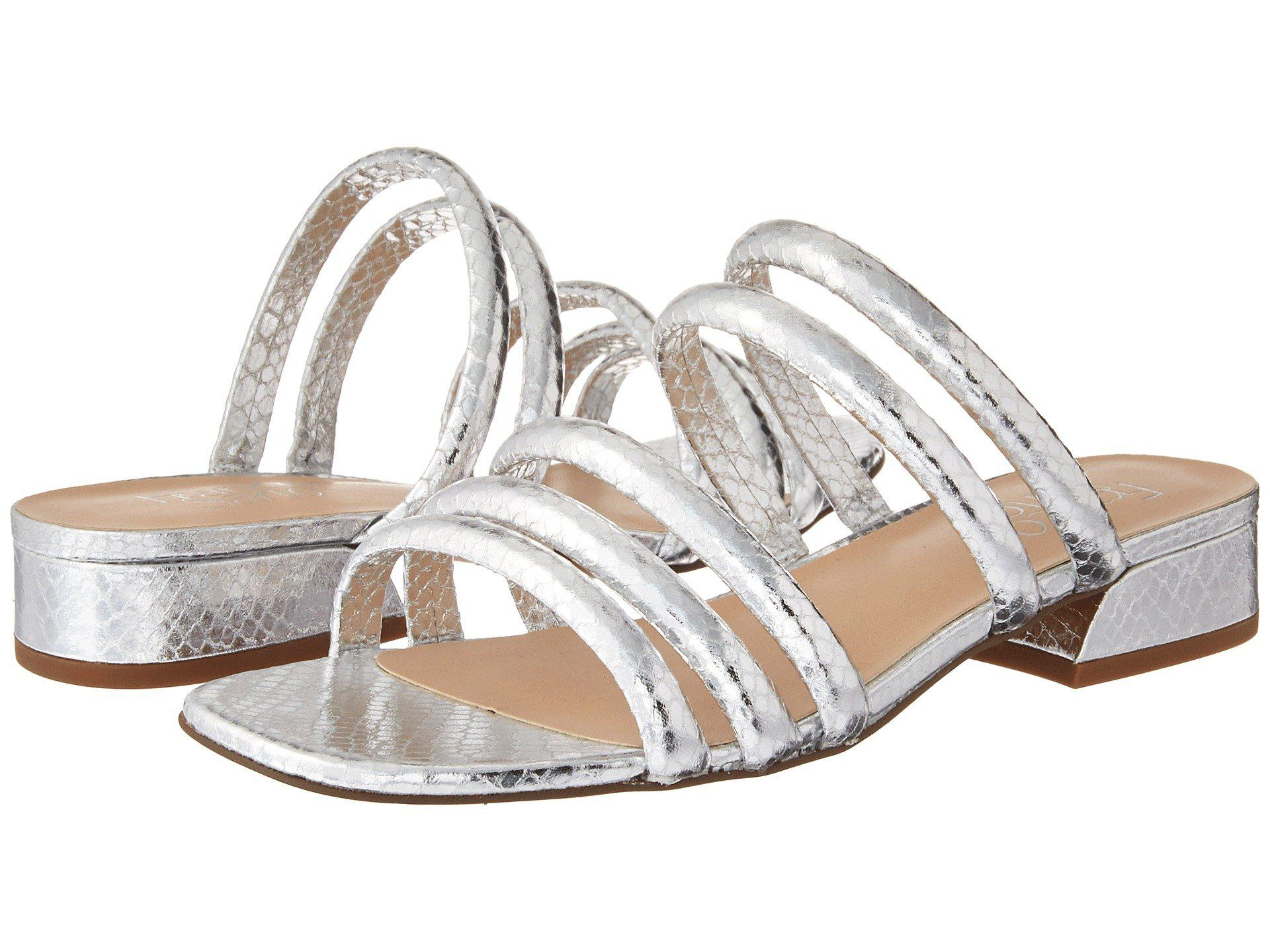Franco Sarto Fitz Metallic Shiny Snake Print Block Heel Slide Sandals Tvd6fSFf