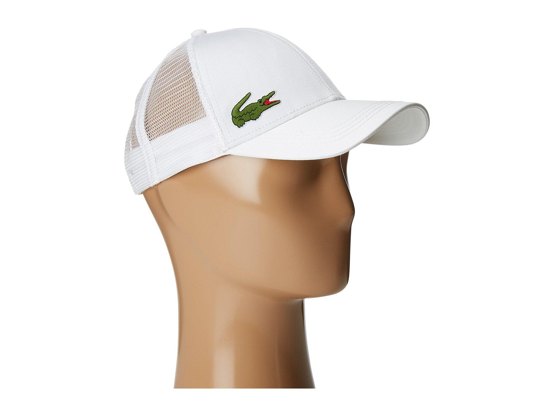 3d84d2f4ebcc37 Lacoste Classic 5cm Croc Trucker Hat in White for Men - Lyst