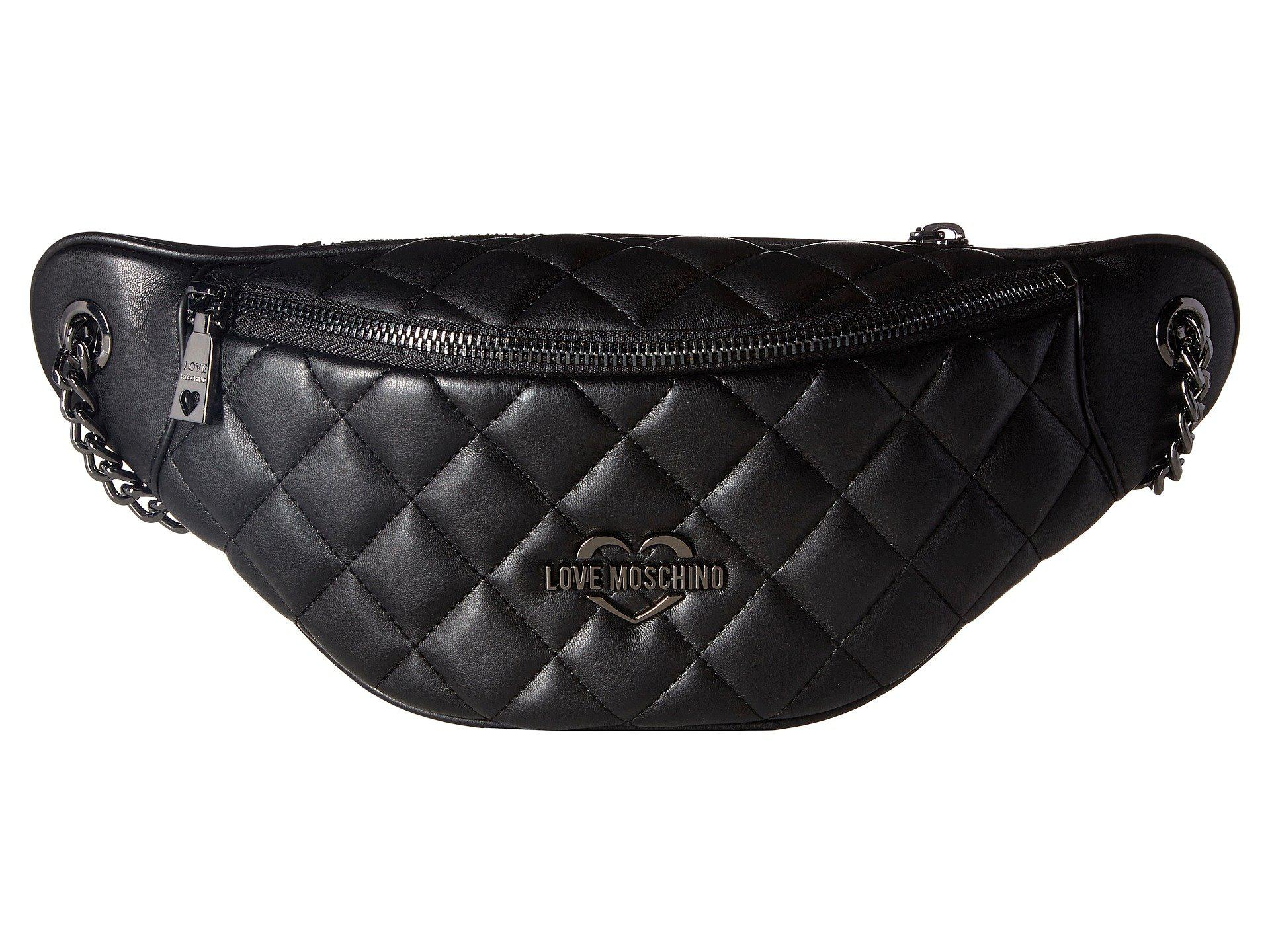 d7cb653ecf1be4 Love Moschino Metallic Quilted Fanny Pack in Black - Lyst