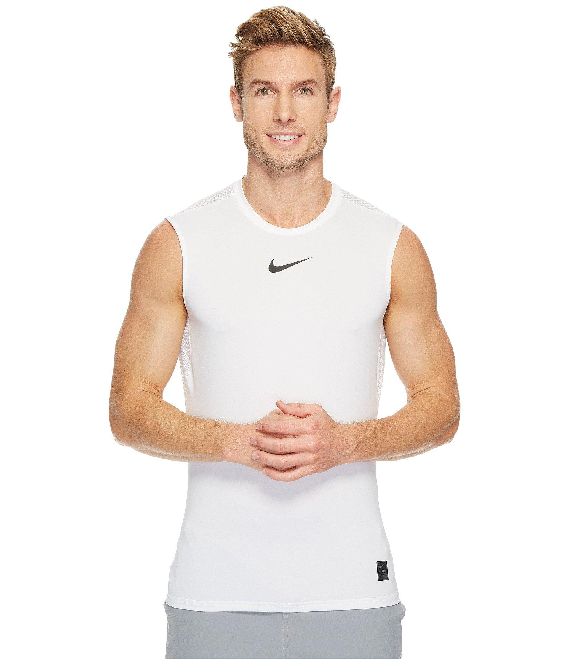 8b57c61b53a Nike Pro Sleeveless Training Top in White for Men - Save 46% - Lyst