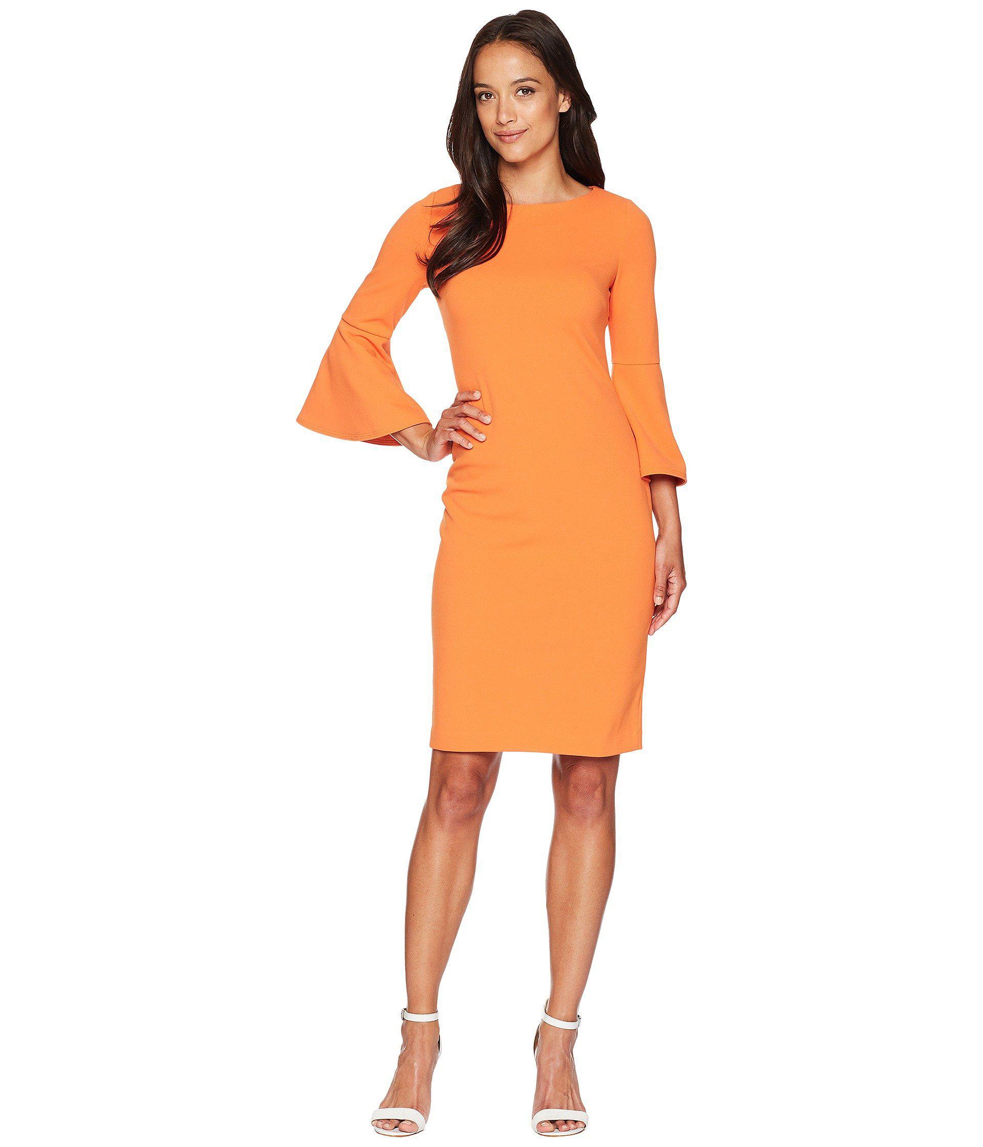 8ce226fdb0e Calvin Klein Bell Sleeve Sheath Dress Cd8c133e (aubergine) Women s ...