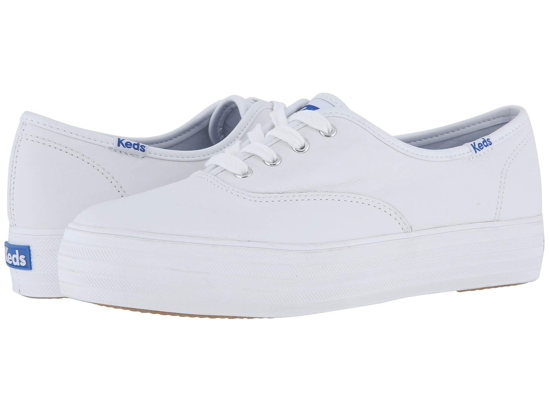 2112d5b4ff48 Lyst - Keds Triple Leather (white) Women s Lace Up Casual Shoes in White