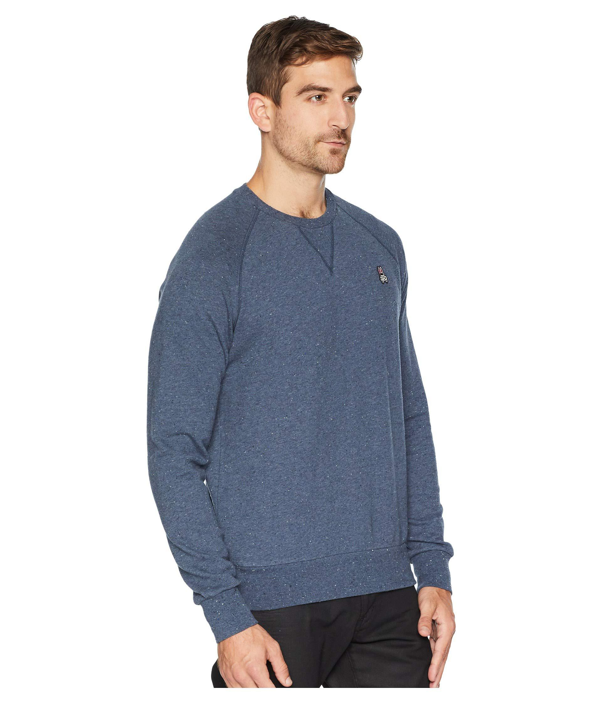Psycho Bunny Men/'s Teal Blue Donegal Cotton//Cashmere 1//4 Zip Pullover Sweater