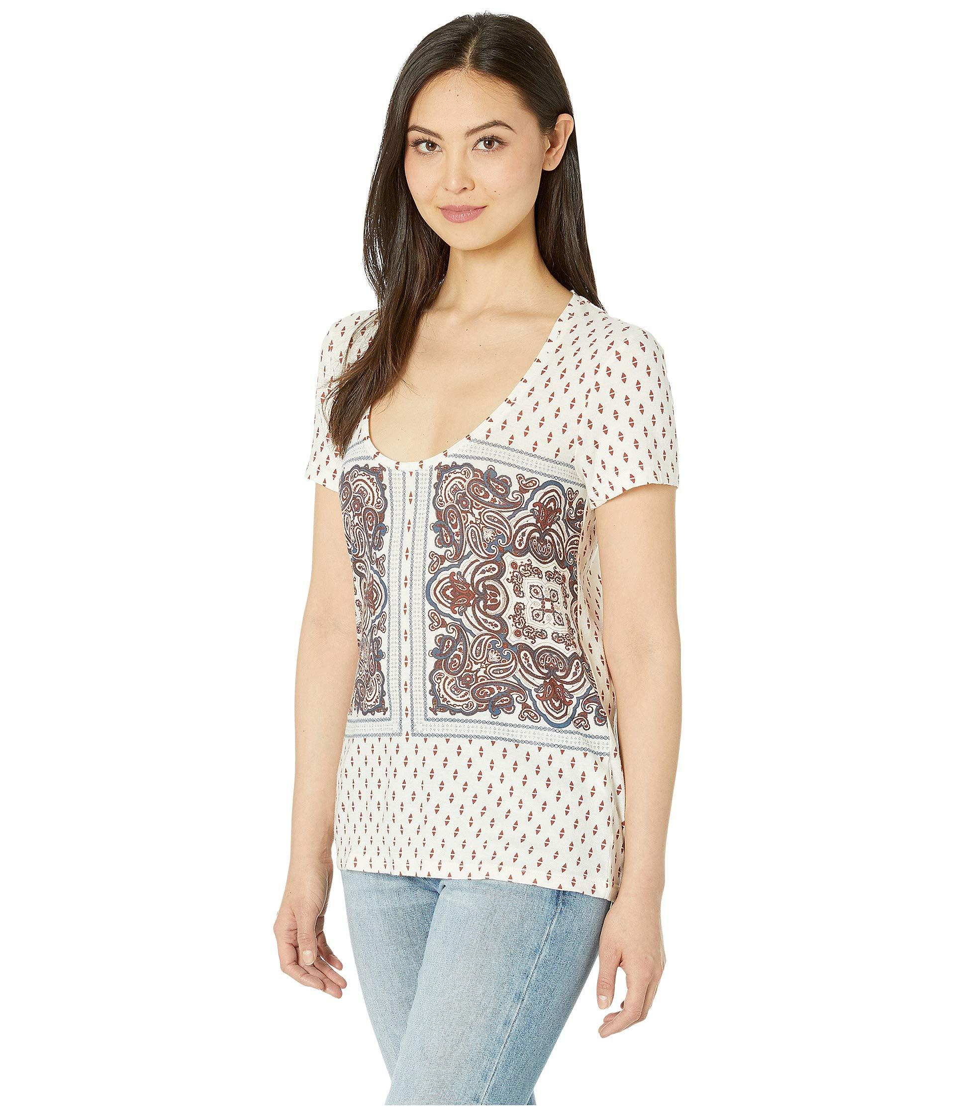 c2c2e8d8cb827 Lyst - Lucky Brand Paisley Border Print Tee (natural Multi) Women s  Clothing in Natural