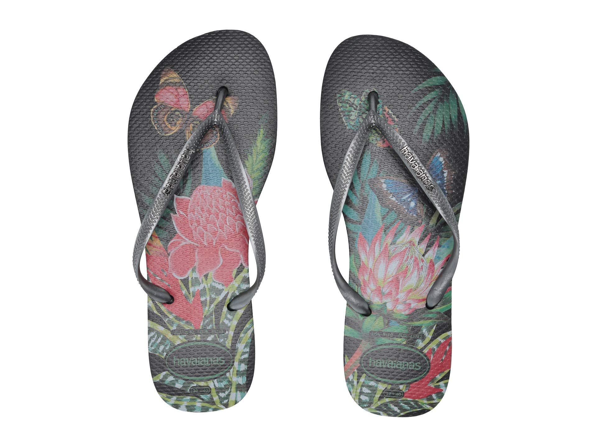 a7b42ad01d04 Havaianas - Slim Tropical Flip Flops (black graphite) Women s Sandals -  Lyst. View fullscreen