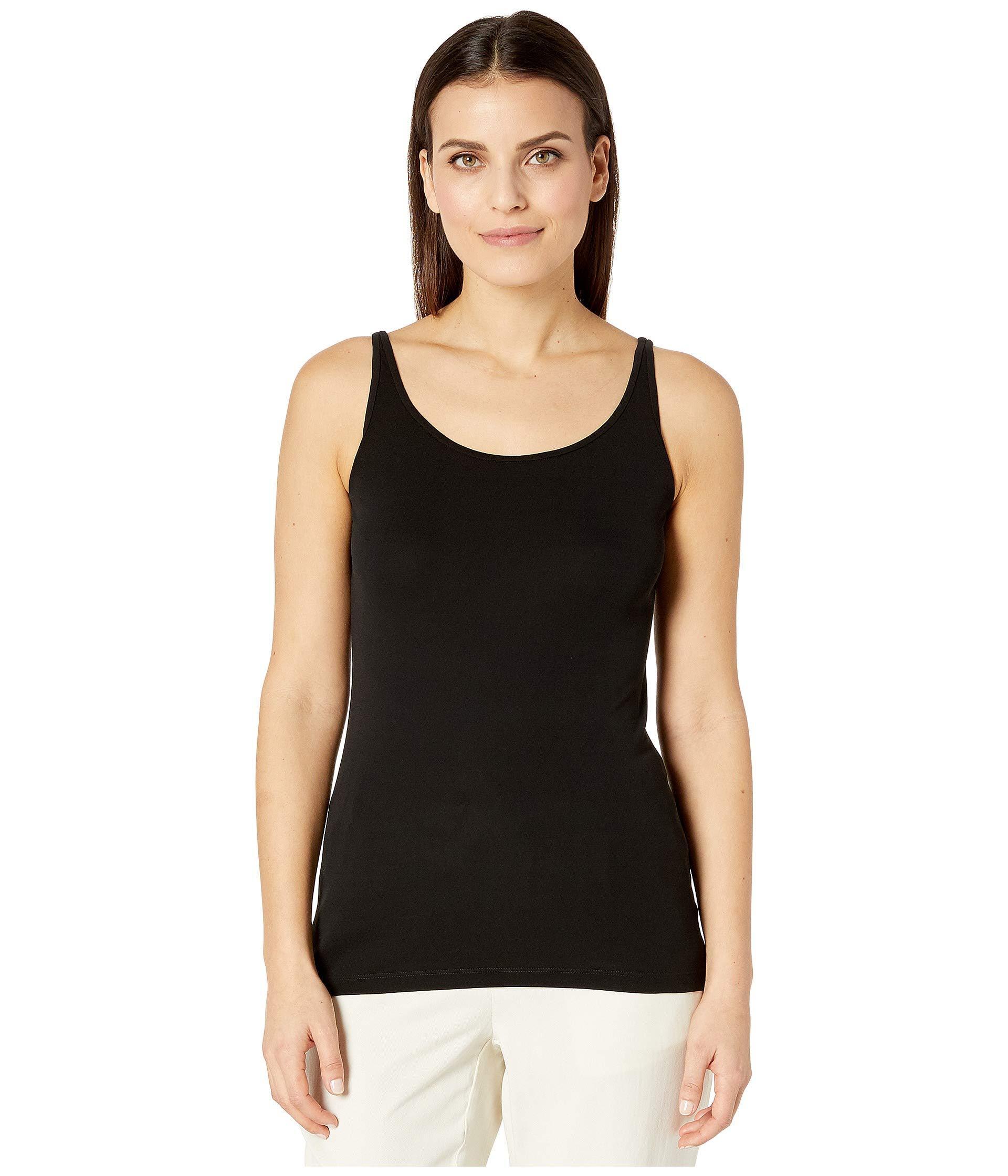 5ebf2dd99a Eileen Fisher - Black Petite Stretch Silk Jersey Scoop Neck Long Slim Cami  (soft White. View fullscreen