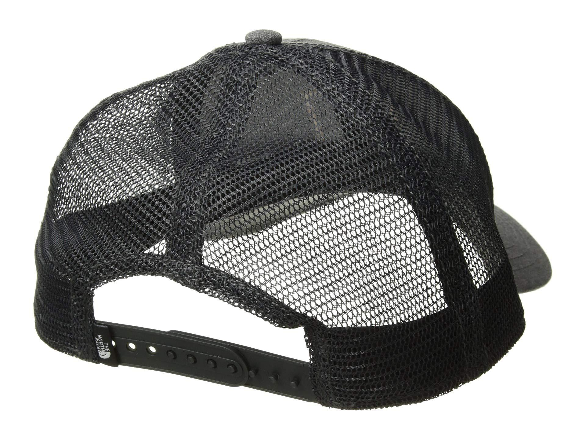 cd64930d9 The North Face Gray Tnftm Box Logo Trucker Hat (pink Salt/blue Wing Teal)  Caps for men