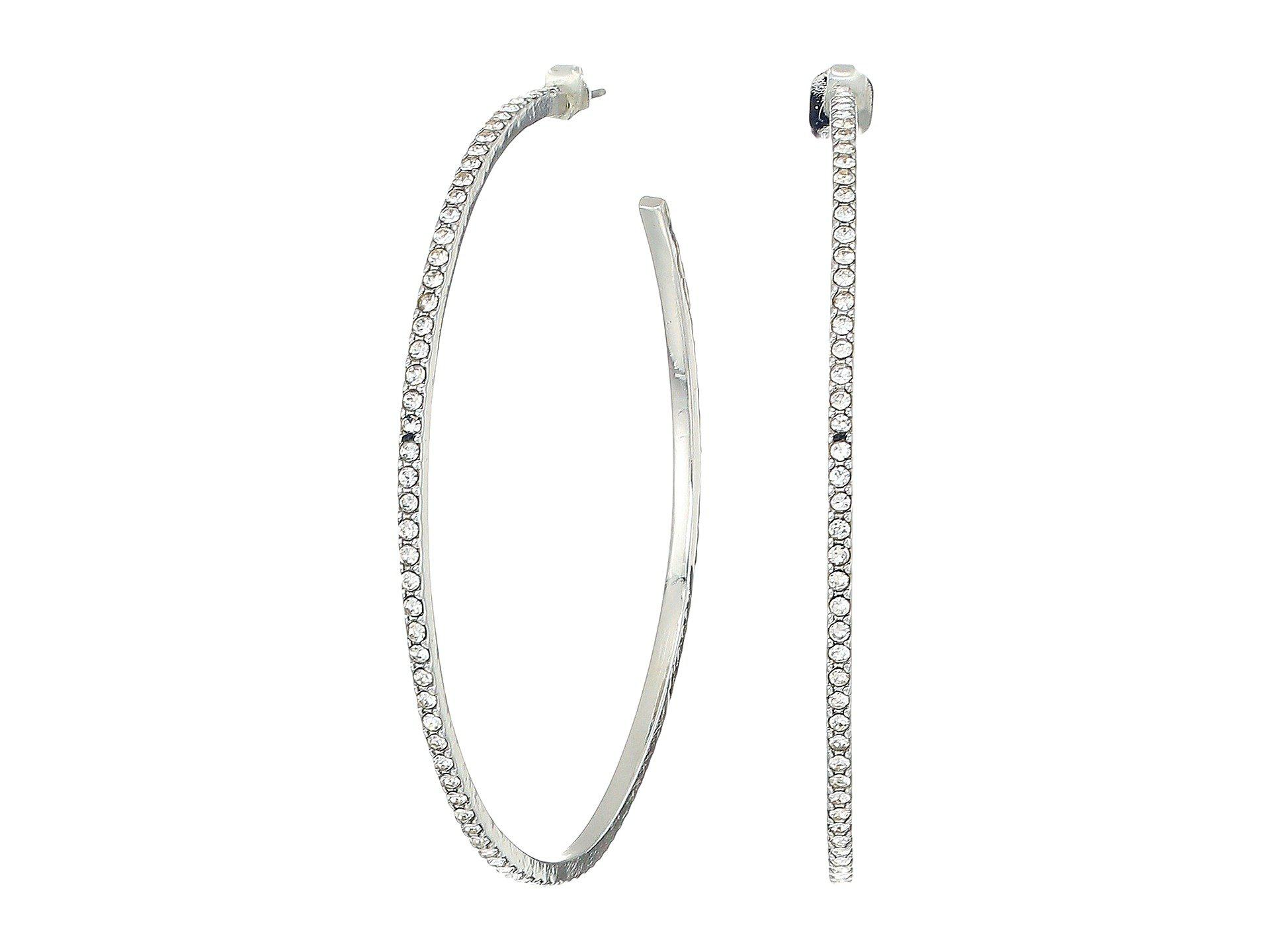 1c7dd450d9d88 Lyst - French Connection Large Pave Hoop Earrings (crystal/rhodium ...