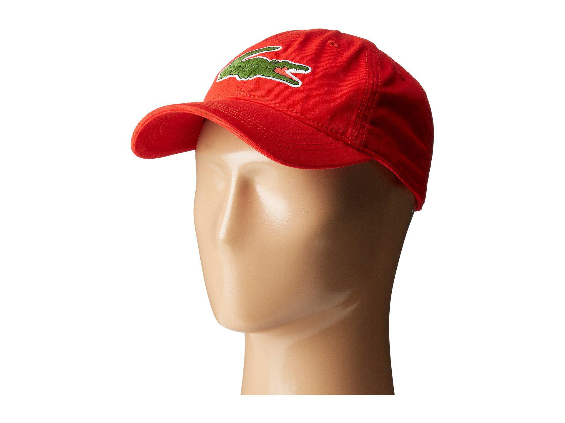 0d9a23af17e Lyst - Lacoste Big Croc Gabardine Cap in Red for Men - Save 30%
