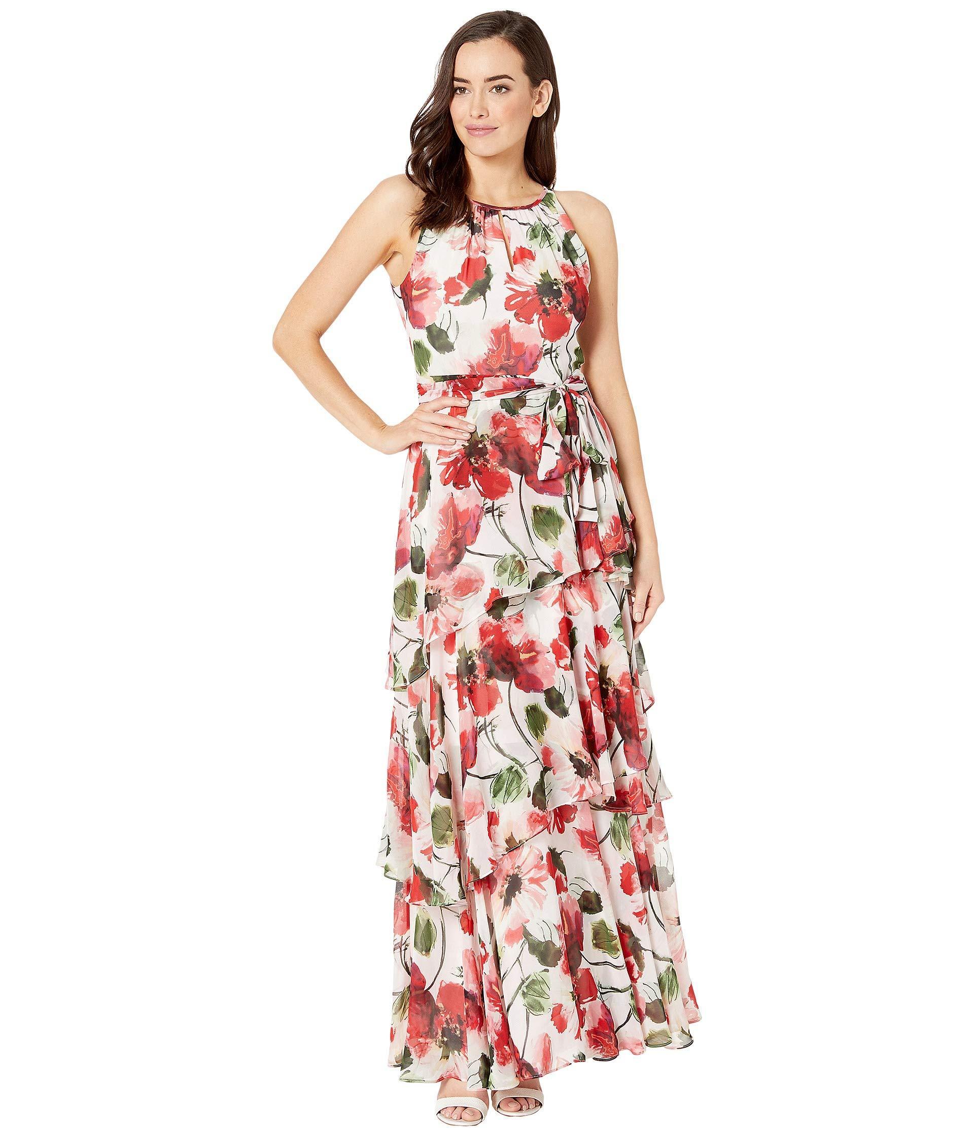 d7a8bba2b96b Tahari - Printed Chiffon Tiered Ruffle Maxi Dress - Lyst. View fullscreen