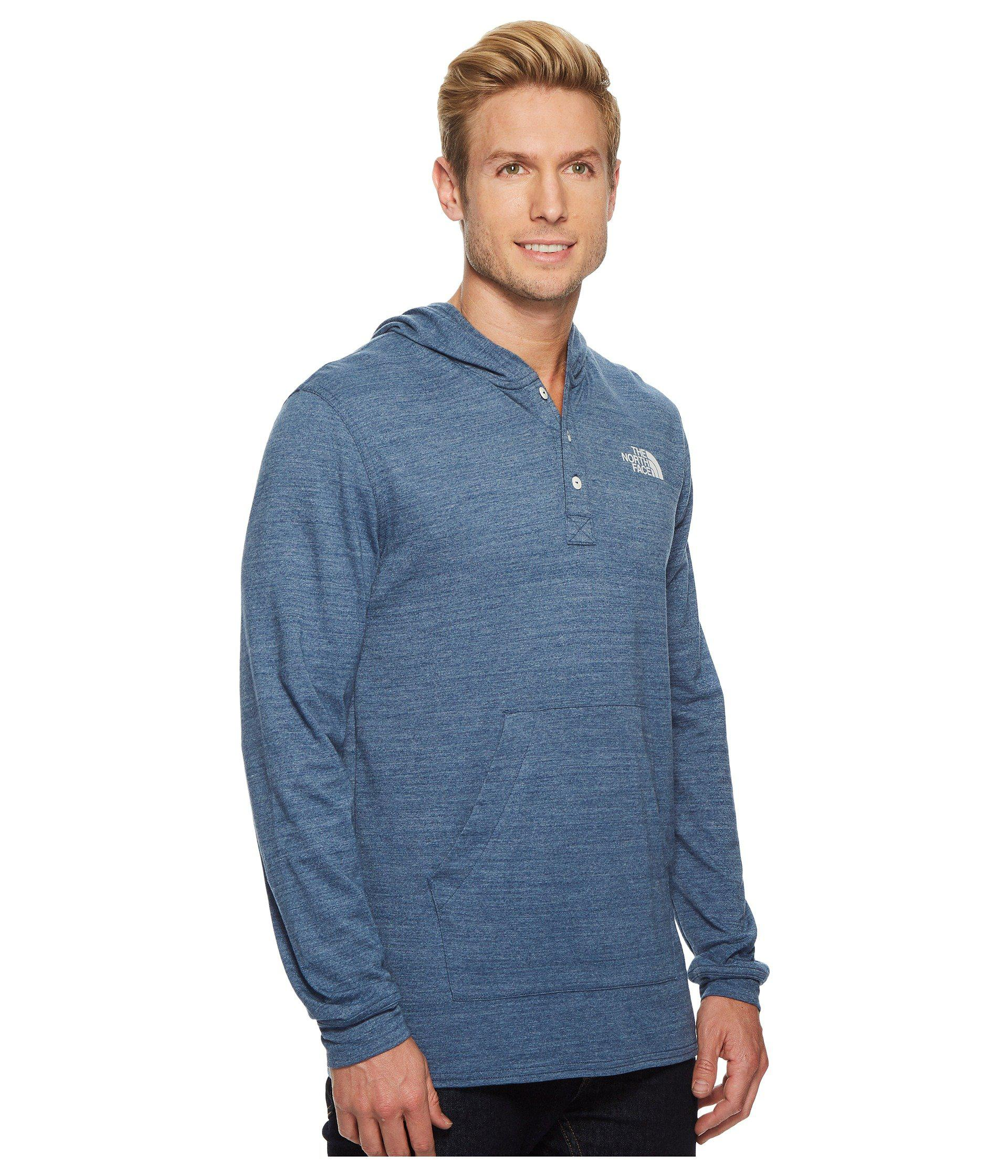 5e3d61ed4 The North Face Blue Henley Tri-blend Hoodie (tnf Dark Grey Heather/vintage  White) Men's Sweatshirt for men