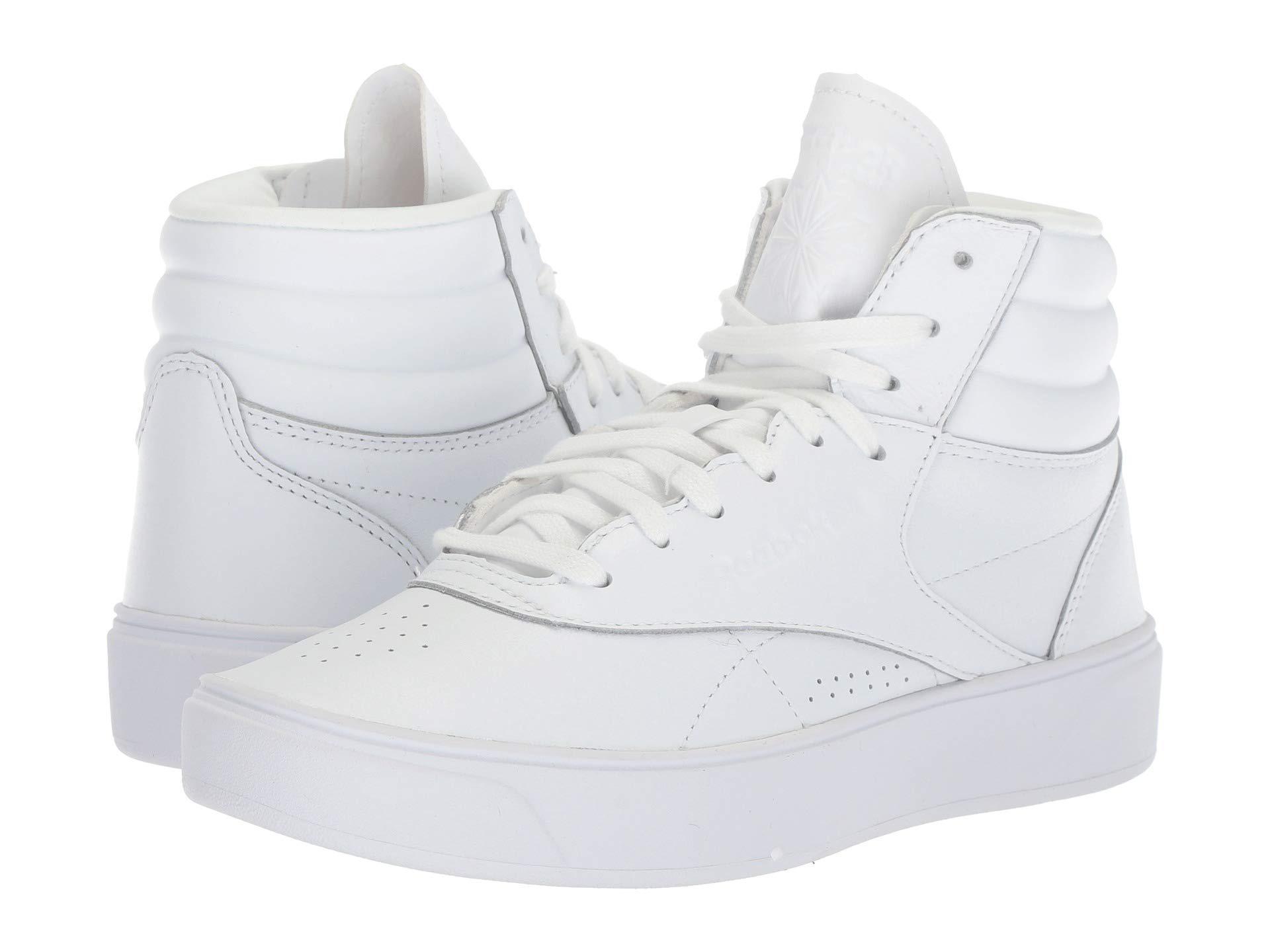 Lyst - Reebok Freestyle Hi Nova (white) Women s Classic Shoes in White 284fedd0e