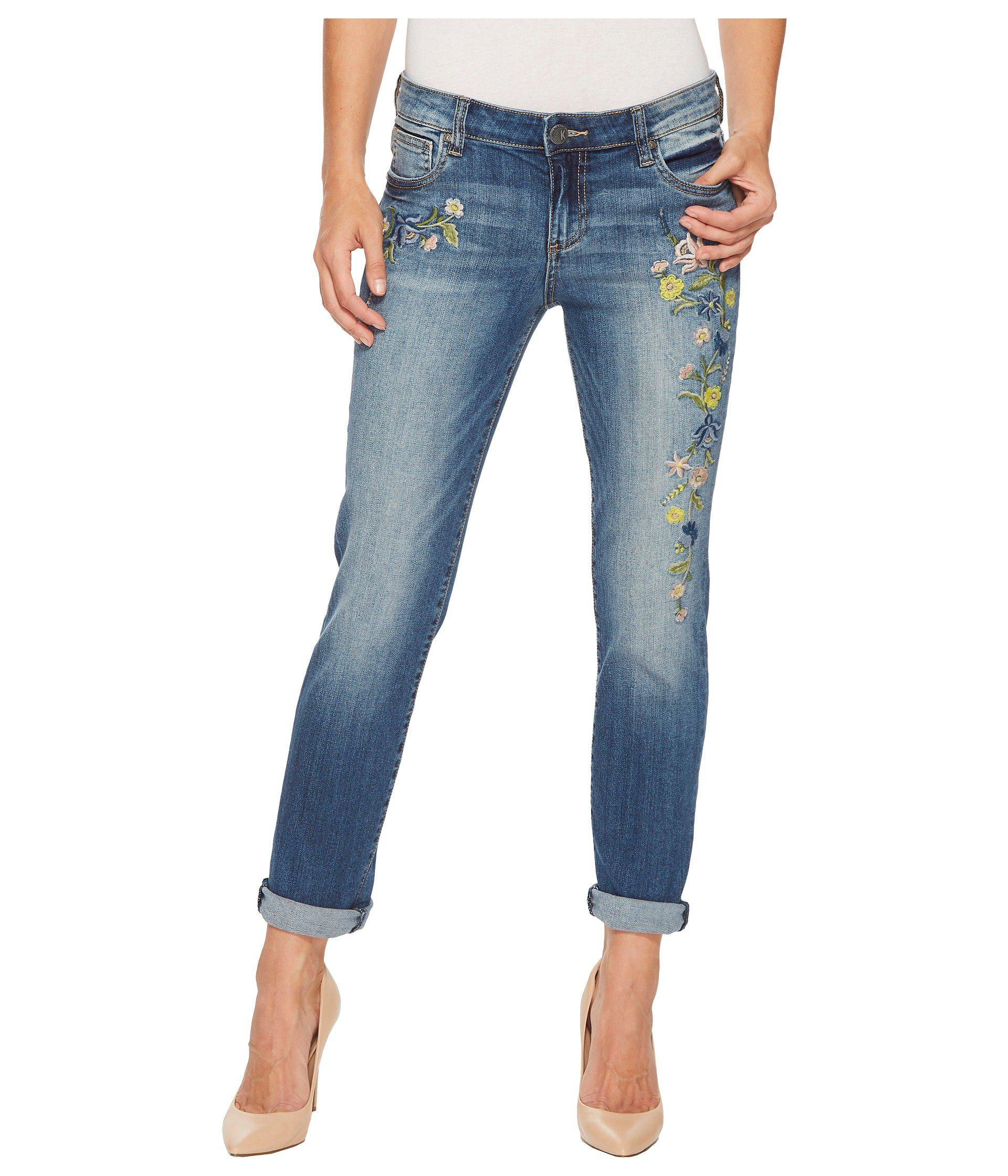 Kut from the kloth catherine boyfriend jeans plus size 16W blue embroidered
