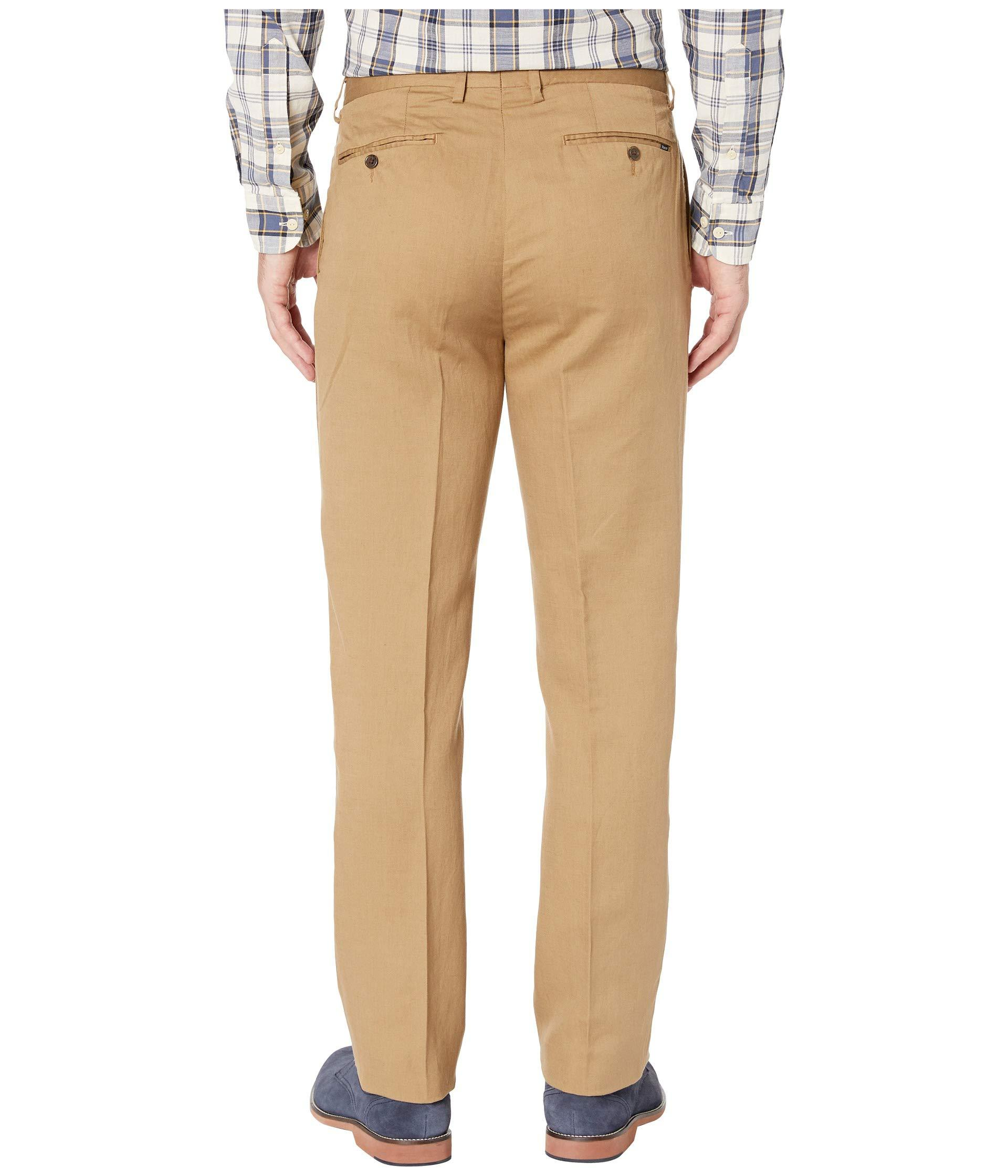 Polo Ralph Lauren Men Brown Plaid Linen Flat Front Classic Fit Pants Trousers