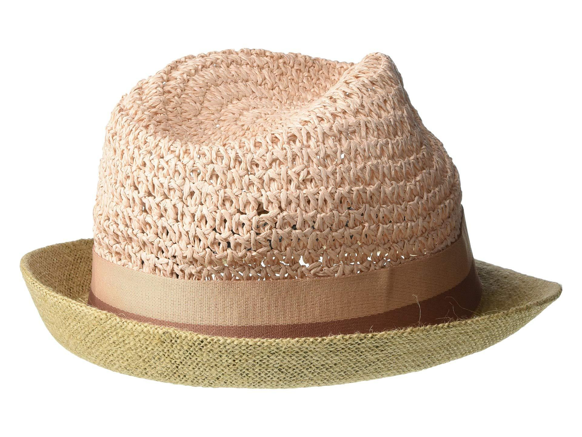 c27824a14 Women's Pink Paper Crochet Jute Short Brim Fedora With Two-tone Band