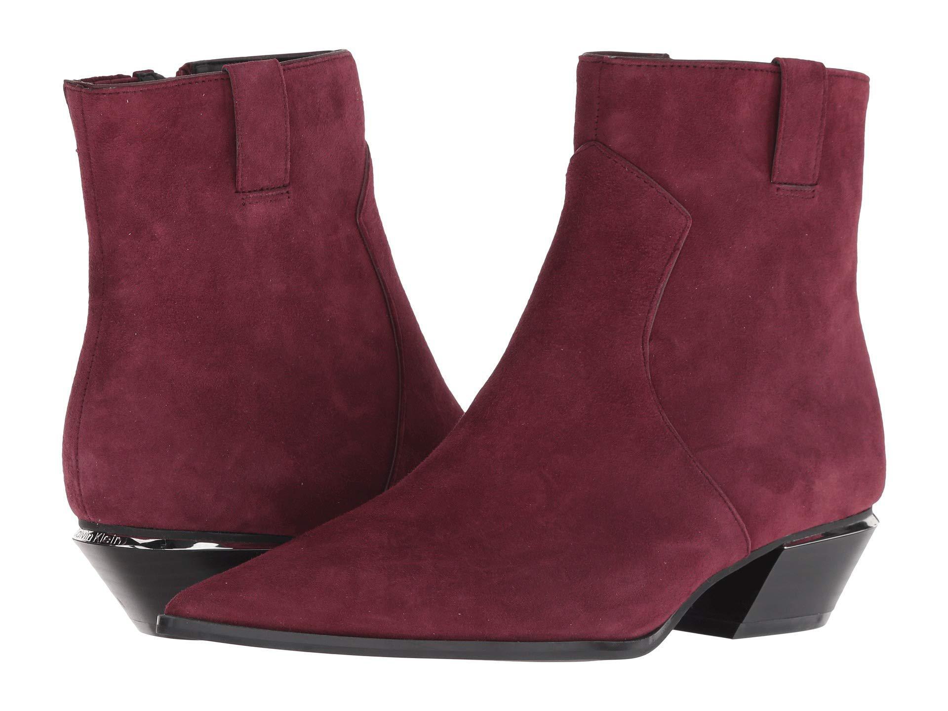 08fd7a07ff3 Lyst - Calvin Klein Nanuka (bordeaux Kid Suede) Women s Boots in Purple