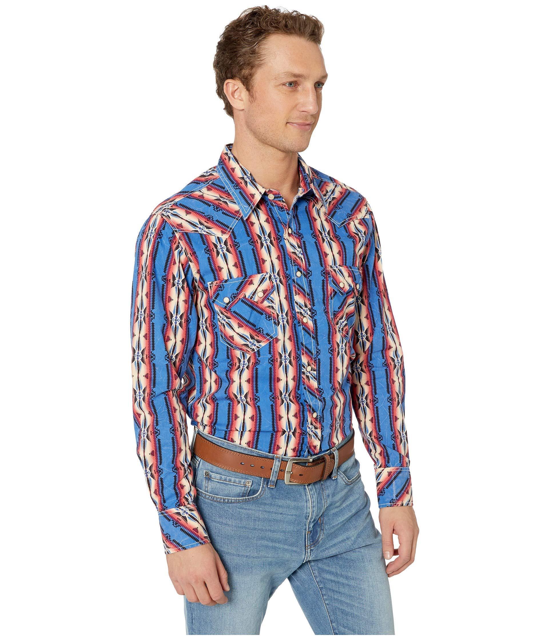 MTW1682011 Cinch Men/'s Geo Print Snap Long Sleeve Western Shirt