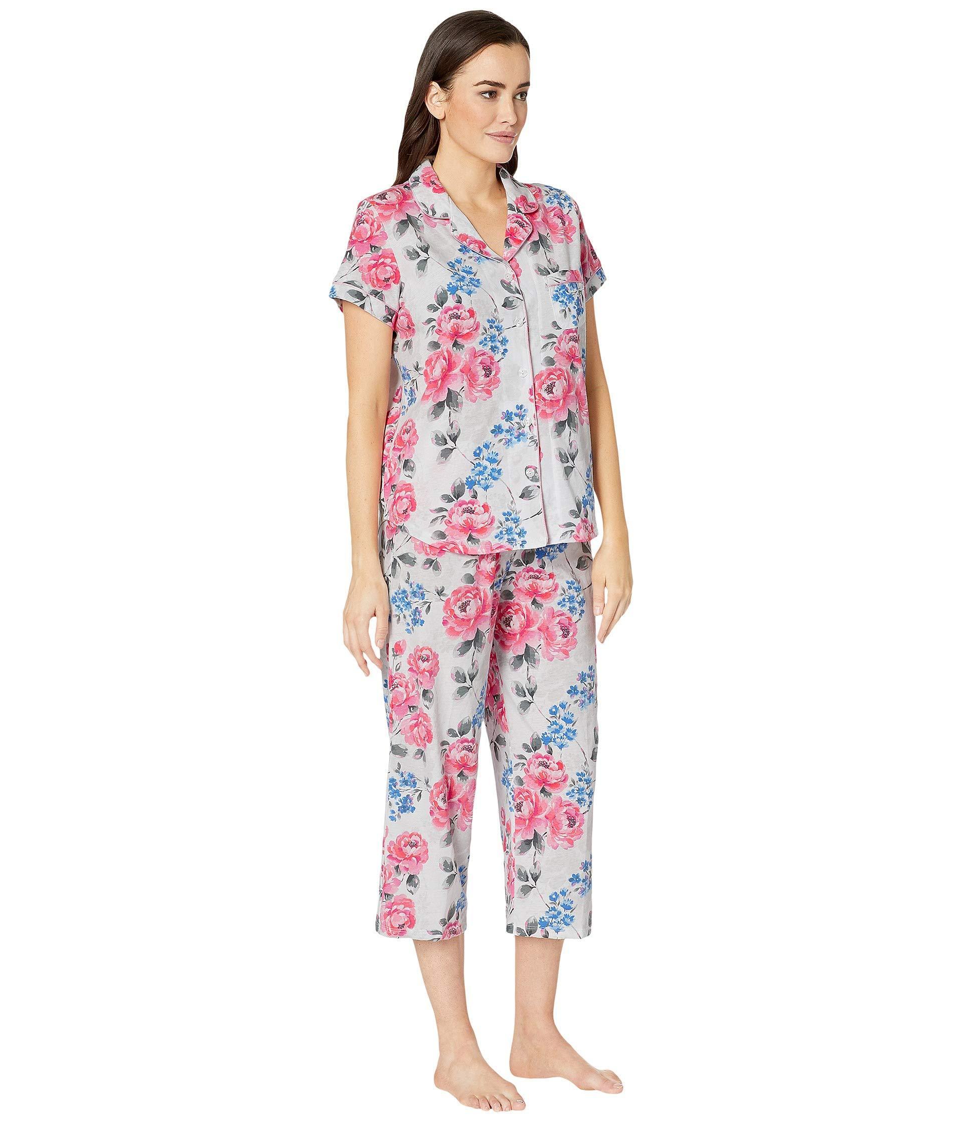 Karen Neuburger Womens Plus Size Cosmopolitan Short Sleeve Bermuda Set
