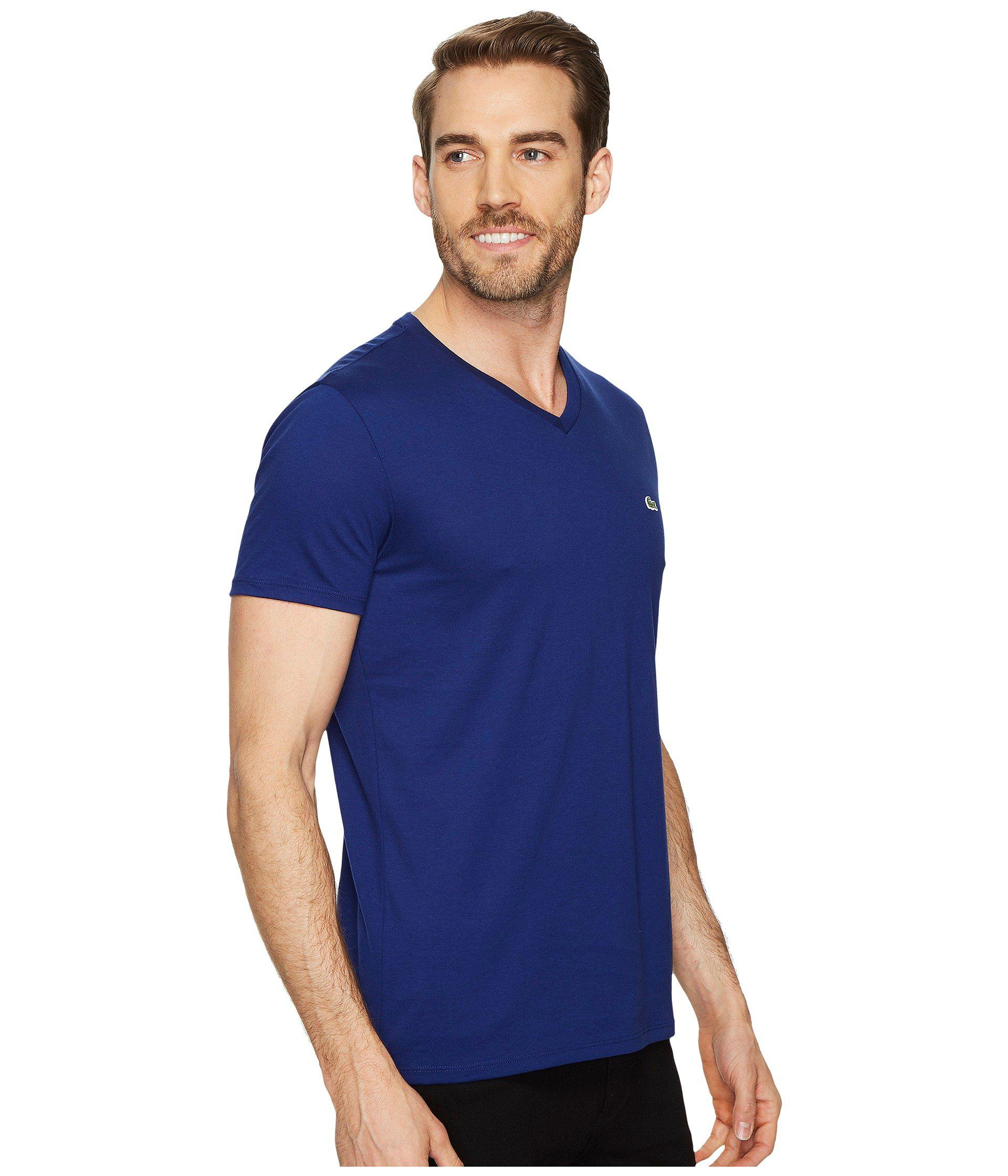 9b625c8a7c18 Lacoste - Blue Short Sleeve V-neck Pima Jersey Tee (white) Men s T. View  fullscreen