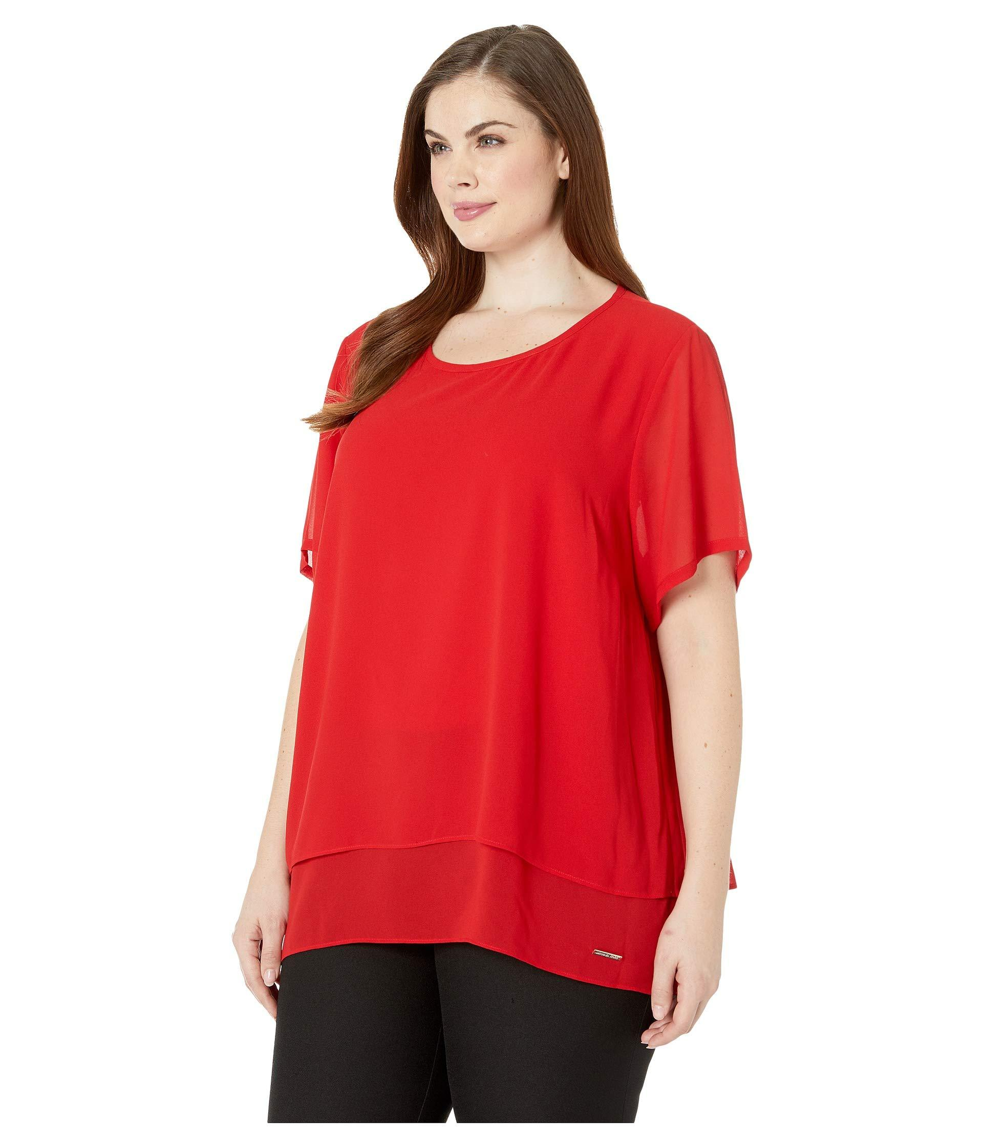 855cdf05eaf0e Lyst - MICHAEL Michael Kors Plus Size Back Cut Out Short Sleeve Top (true  Navy) Women s Clothing in Red