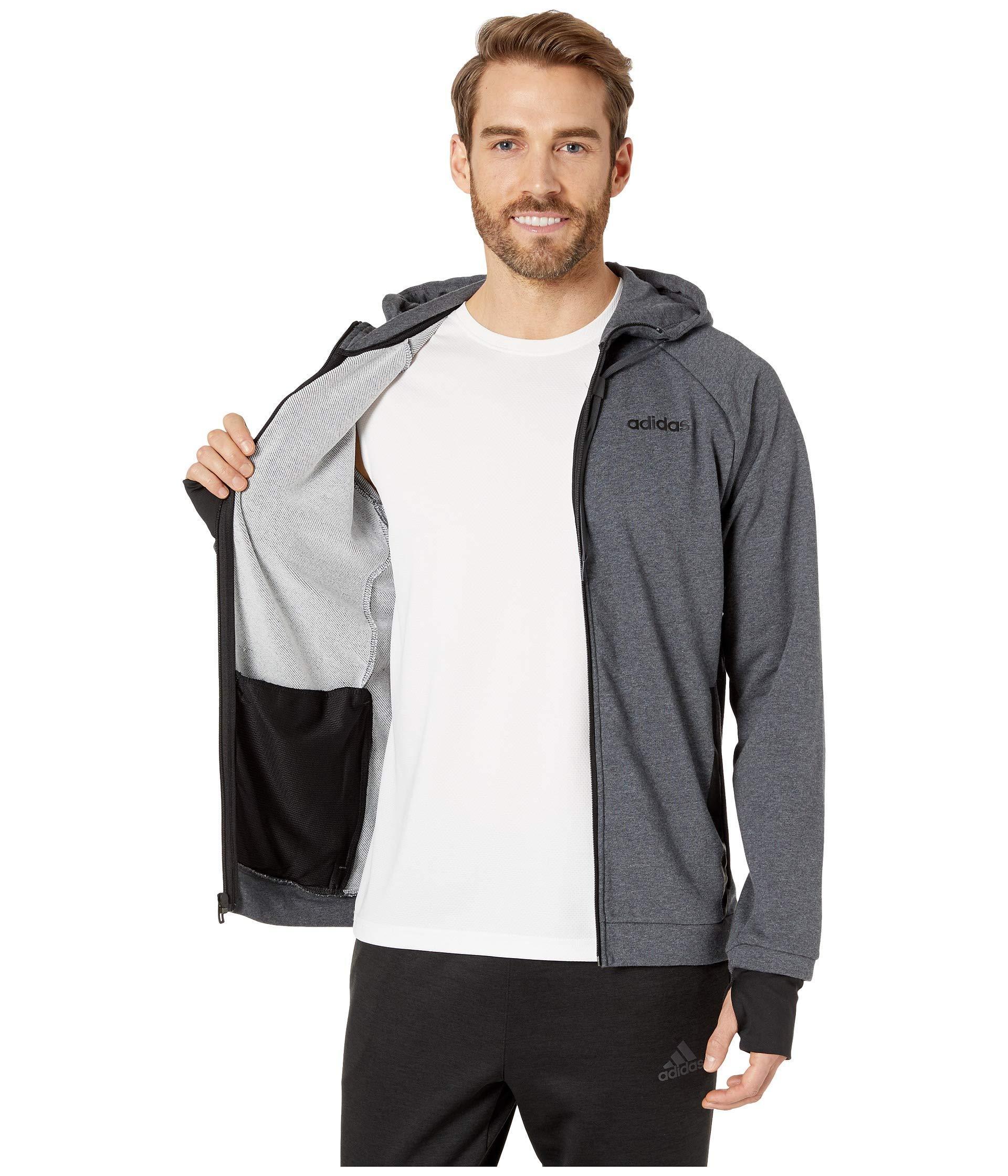 7d941ffbbd Adidas Gray Essentials Motion Pack Full-zip Track Jacket (dark Grey  Heather) Men's Sweatshirt for men