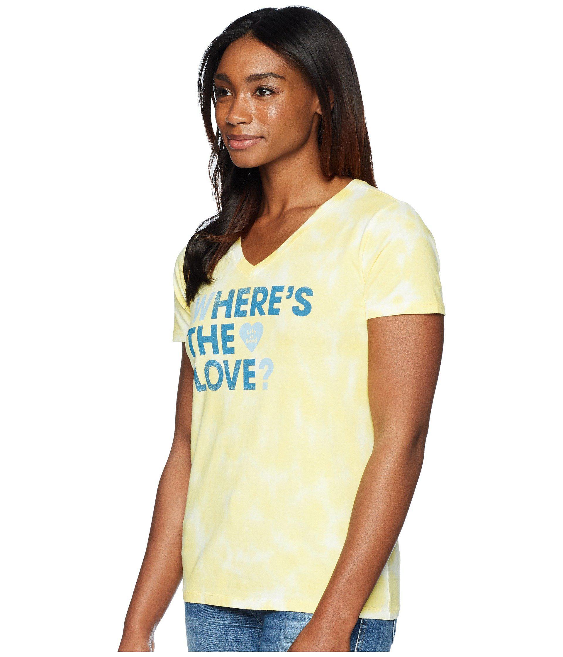 b1e6ae4e8d5 Lyst - Life Is Good. Where s The Love  Crusher Vee Tee (happy Yellow  Tie-dye) Women s T Shirt in Yellow