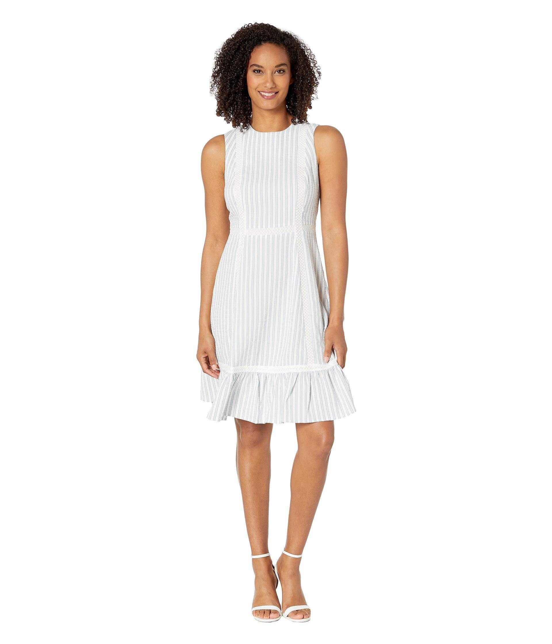 dce11952 Lyst - Calvin Klein Novelty Dress W/ Ruffle Hem (white/blue) Women's ...