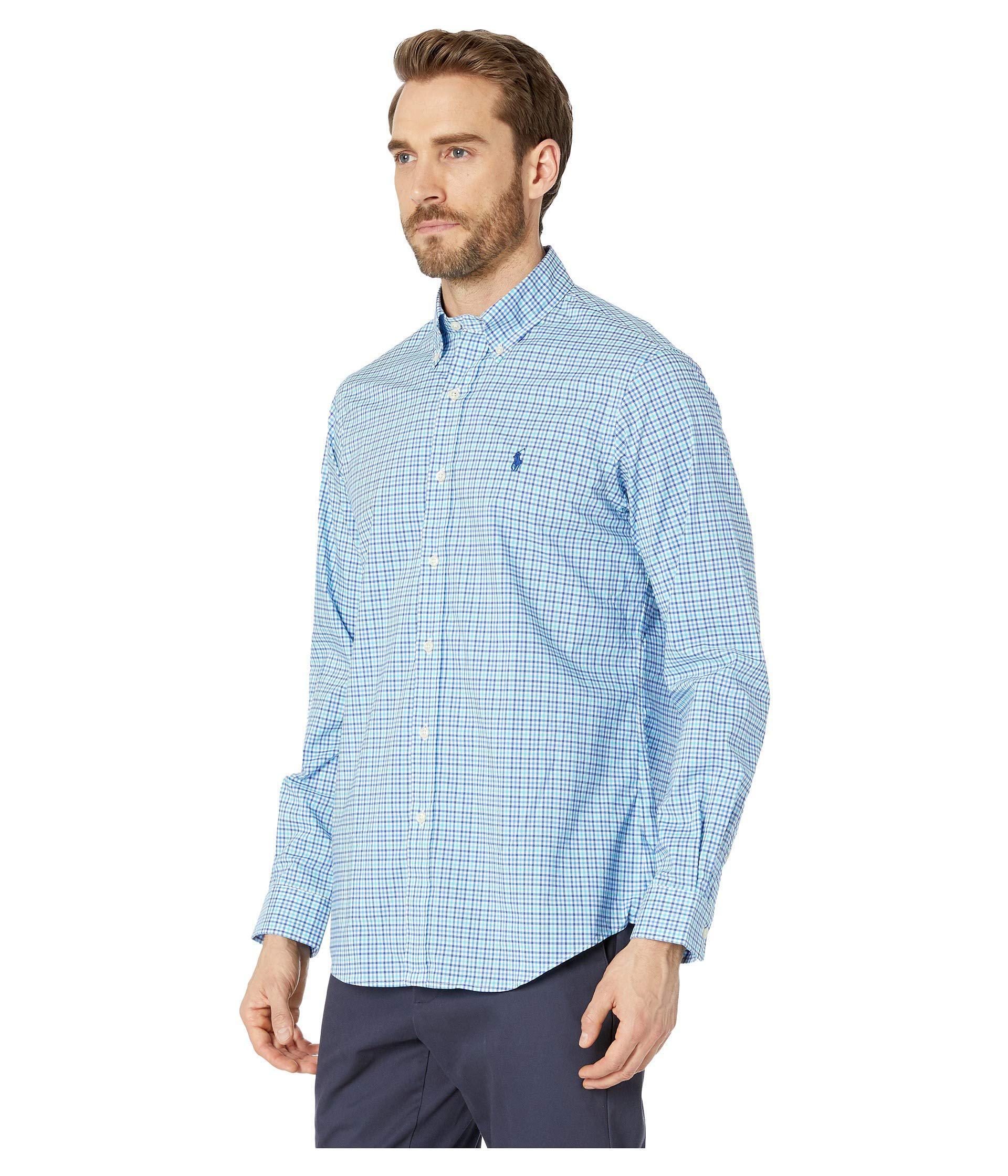 2d6b6b11de1 Lyst - Polo Ralph Lauren Printed Poplin Long Sleeve Classic Fit Sport Shirt  (pink white) Men s Long Sleeve Pullover in Blue for Men