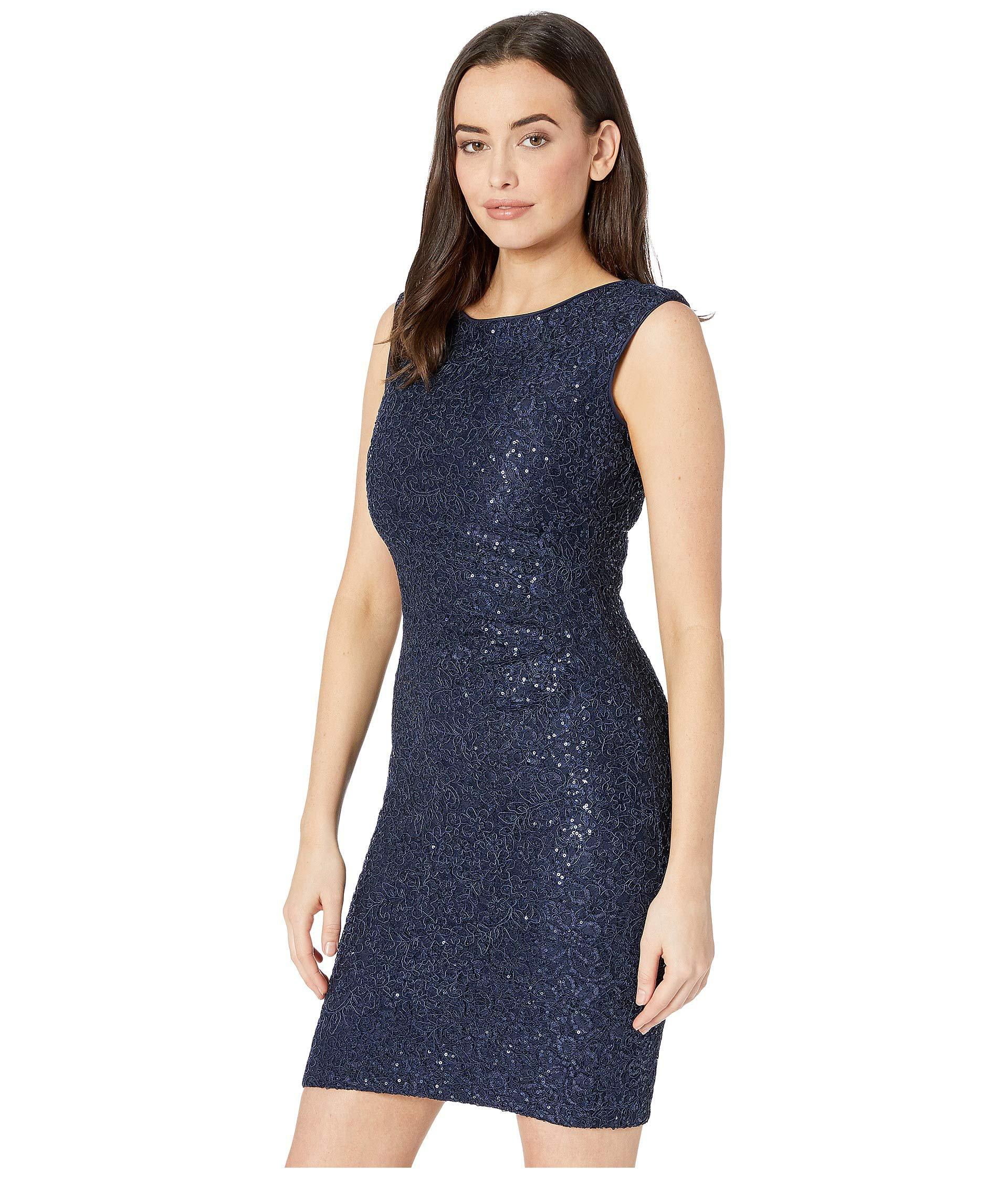 144af28d84 Vince Camuto Sequin Lace Cap Sleeve Bodycon Dress With Side Tucks (navy) Women s  Dress in Blue - Lyst