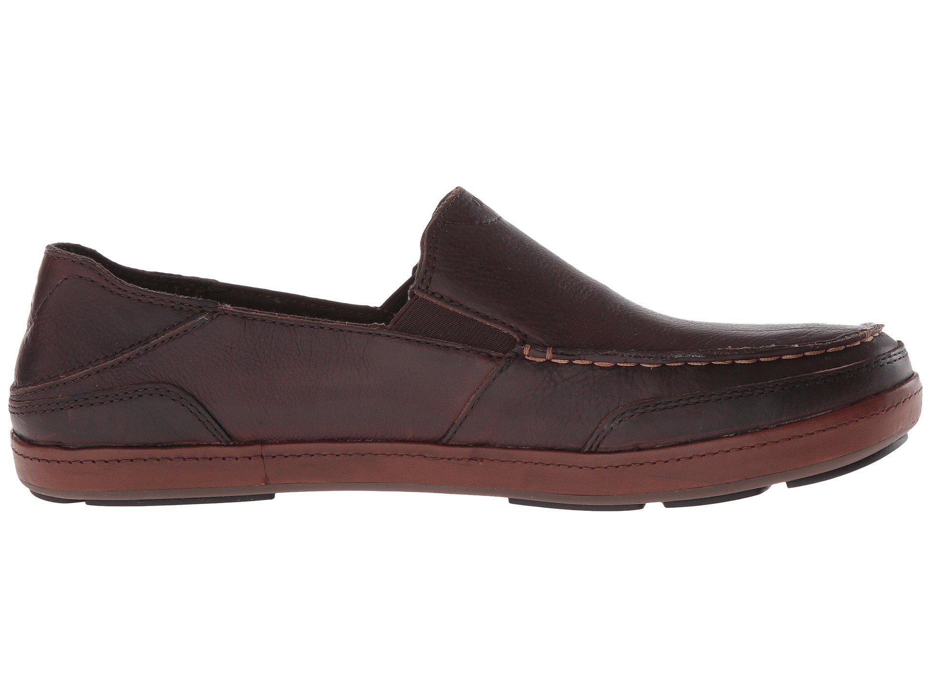 Olukai Puhalu Leather (dark Wood/toffee