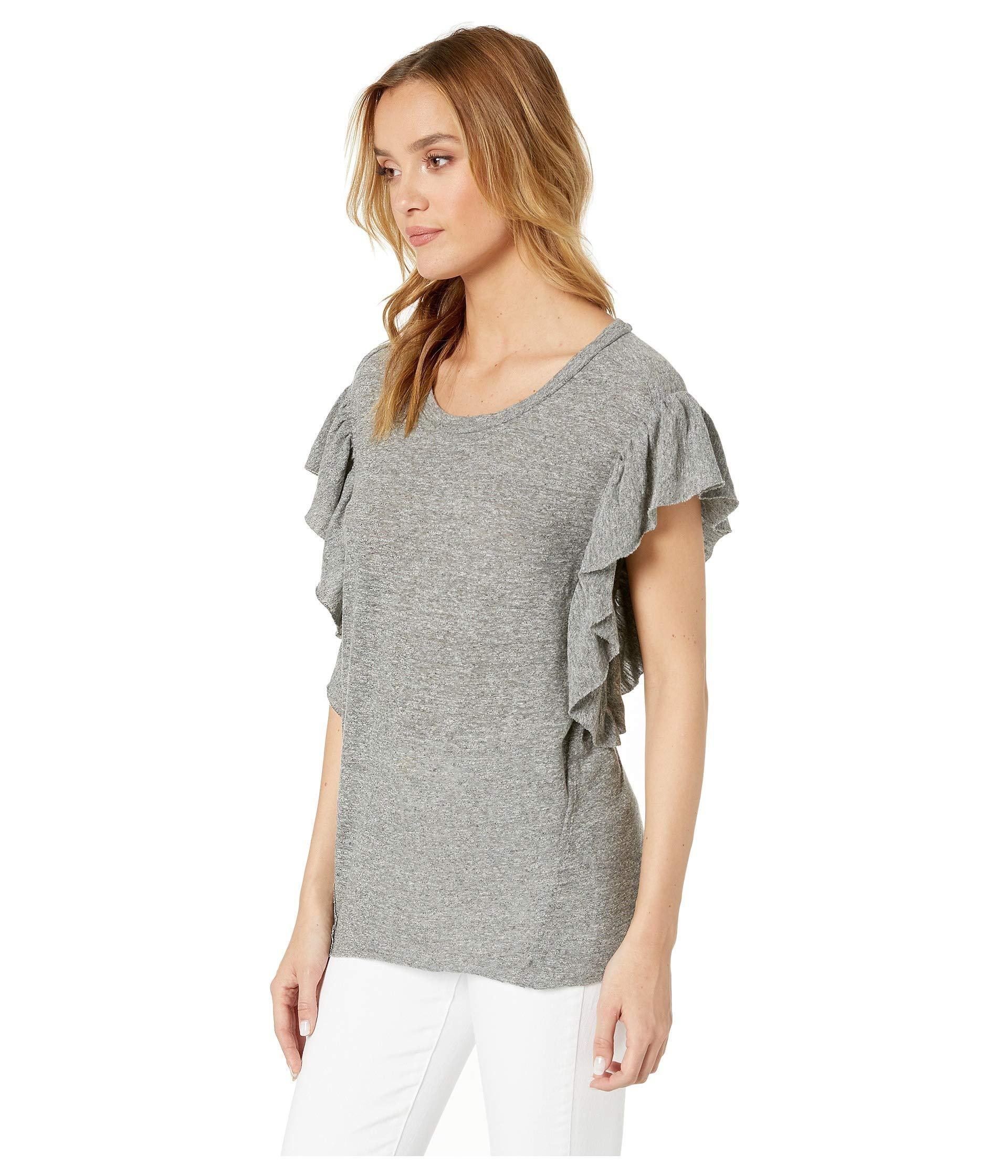 f48036e89 Splendid Flutter Sleeve Tee (gravel Heather Grey) Women's T Shirt in ...