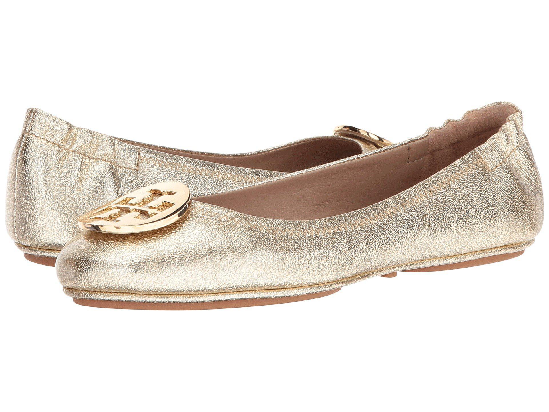 be5df9ee2b3b9 Lyst - Tory Burch Minnie Travel Ballet Flat (black gold) Women s Shoes