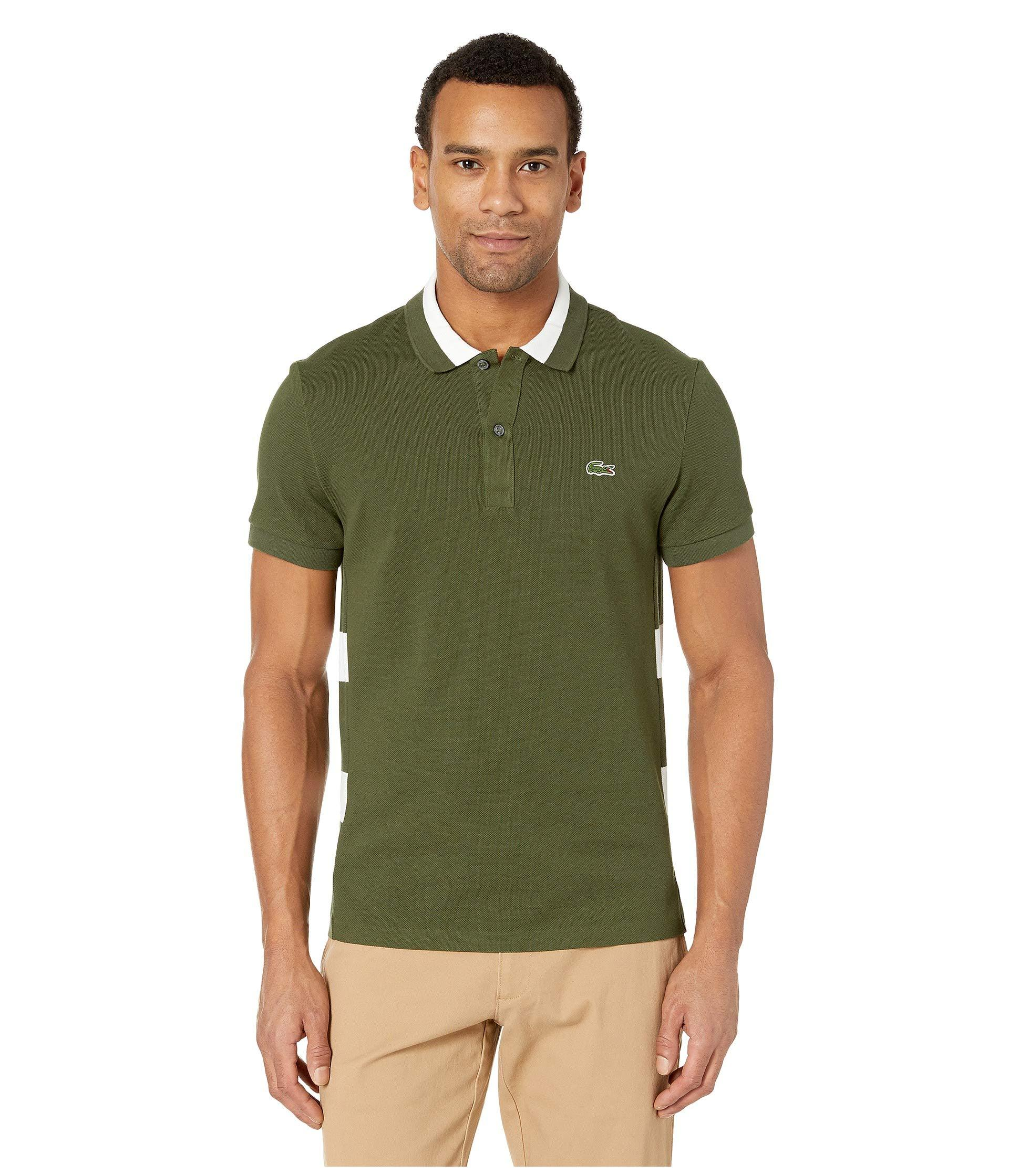 2f15aa3c4 Lacoste Short Sleeve 3 Ply Textured Pique Regular Fit Polo in Green ...