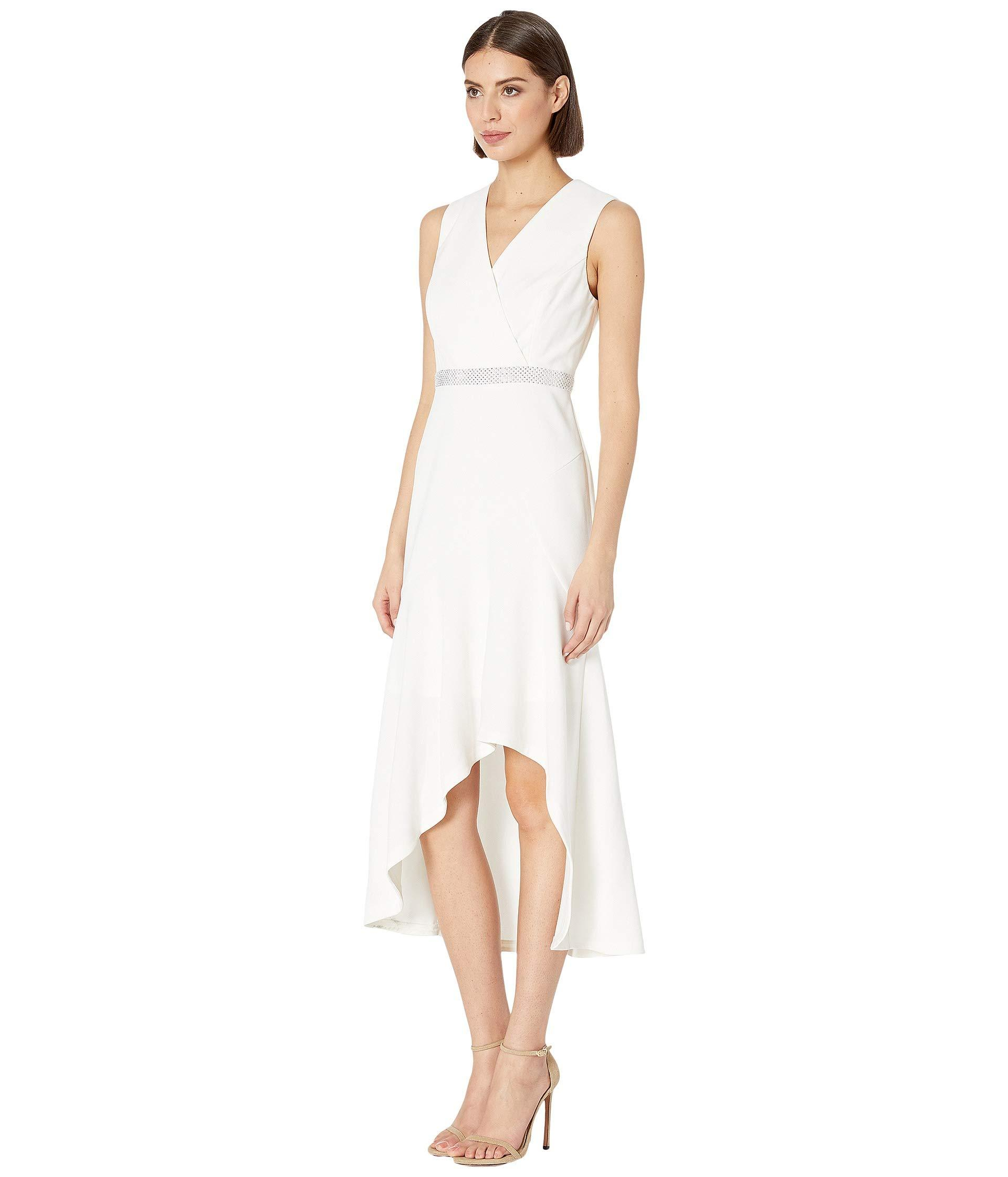 c0240f8267cf Lyst - Calvin Klein High-low Gown With Embellished Waist (cream) Women's  Dress in Natural