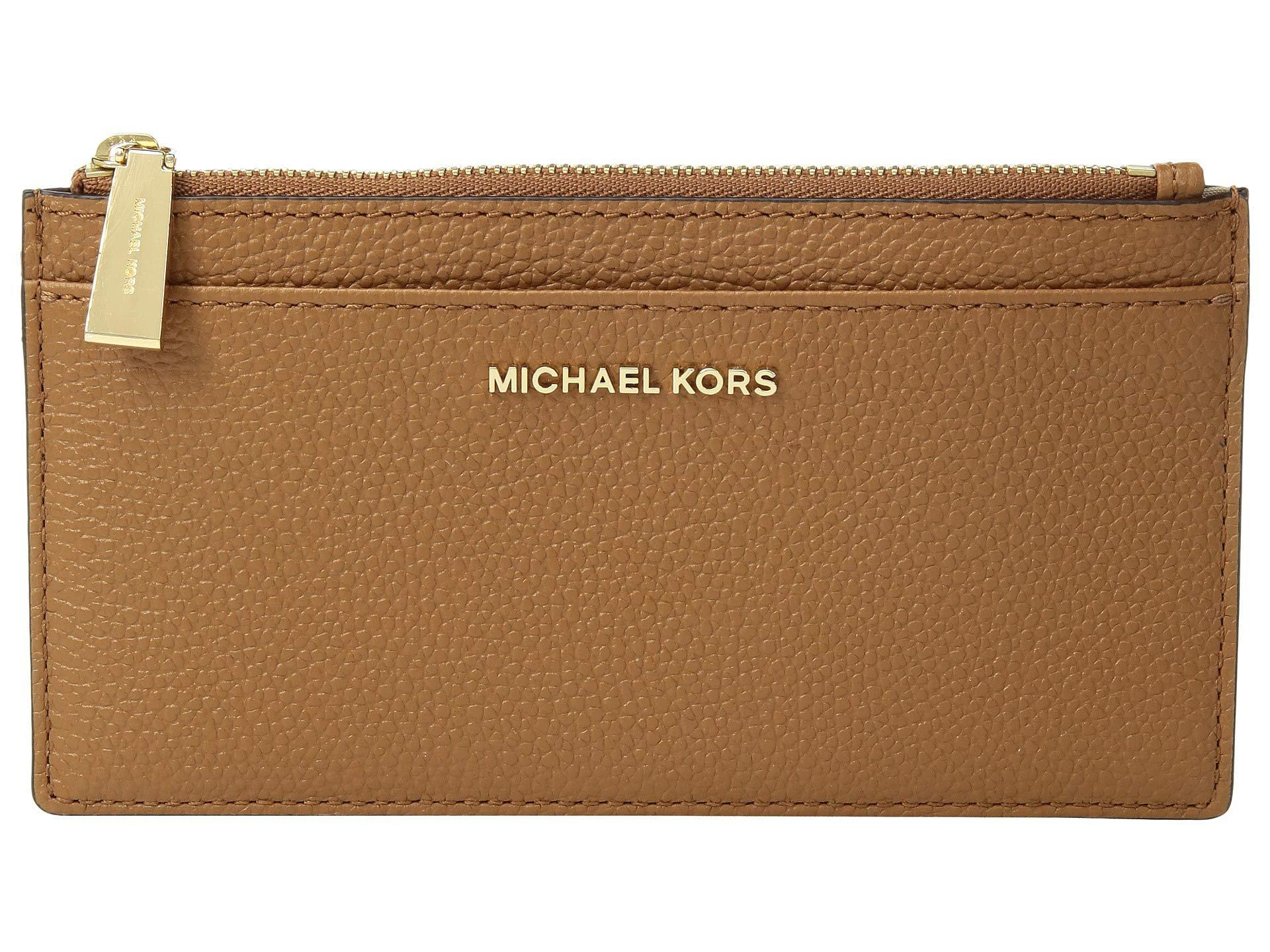 MICHAEL Michael Kors Leather Large Slim Card Case (pearl Grey
