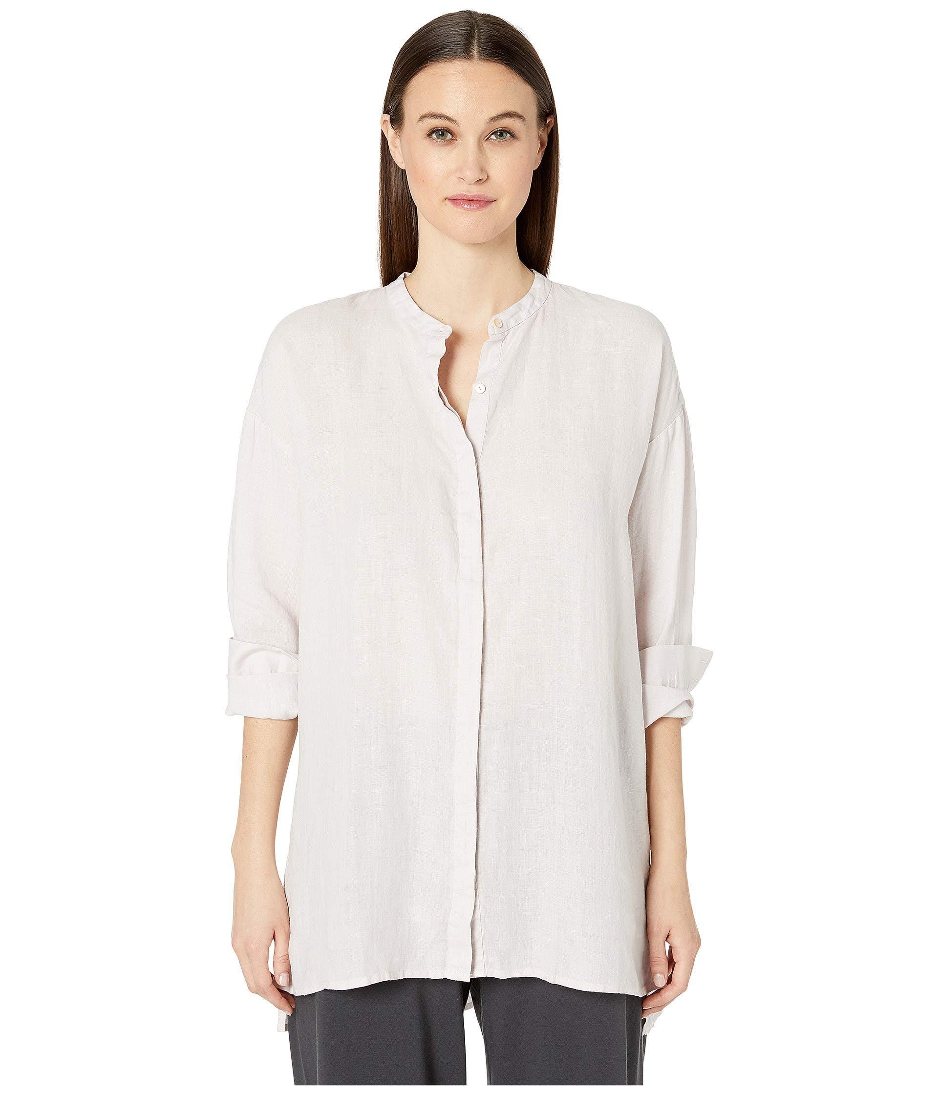 4b5ec7099796a Lyst - Eileen Fisher Organic Handkerchief Linen Mandarin Collar Boxy ...