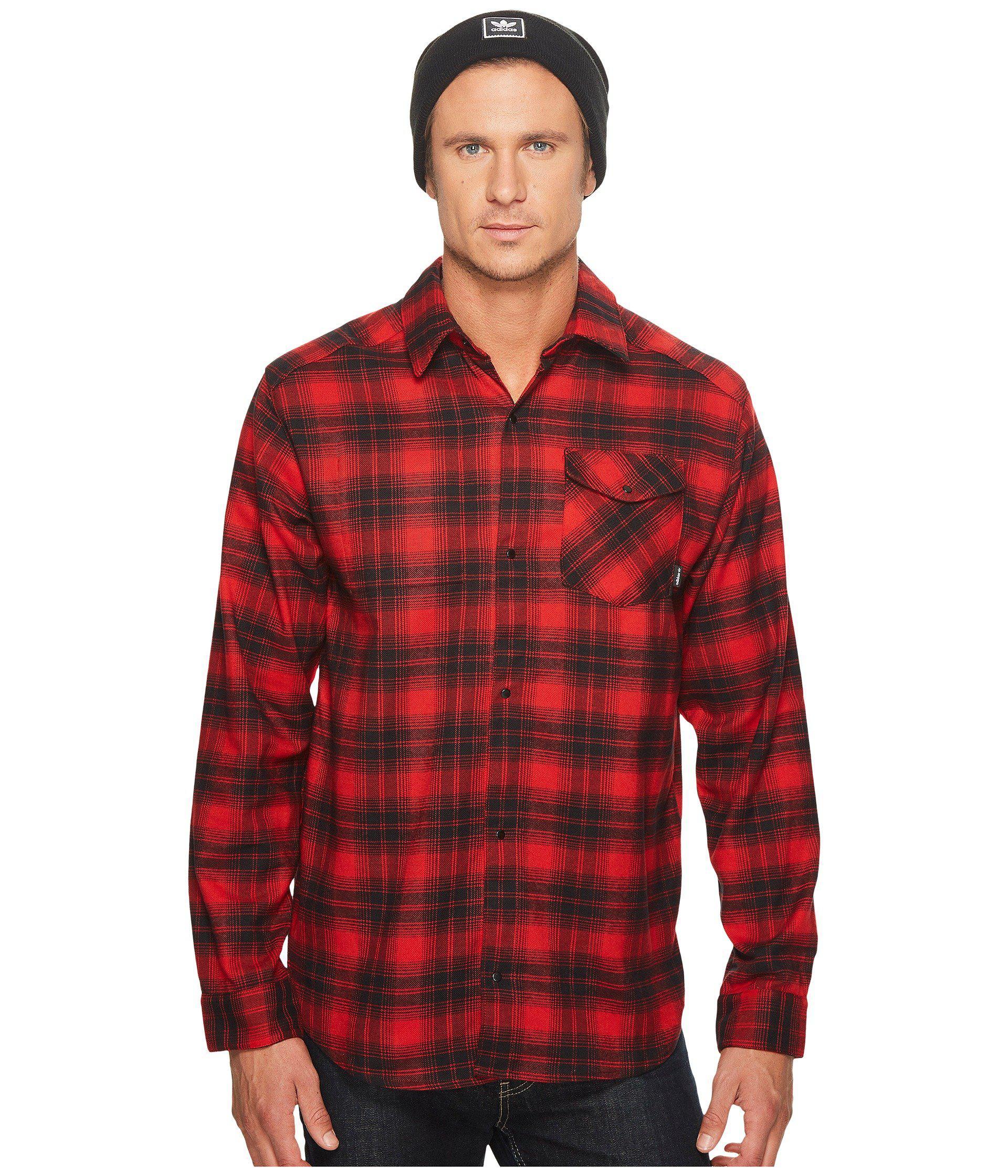 2dc51437 adidas Originals Stretch Flannel Shirt (scarlet/black) Men's Long ...