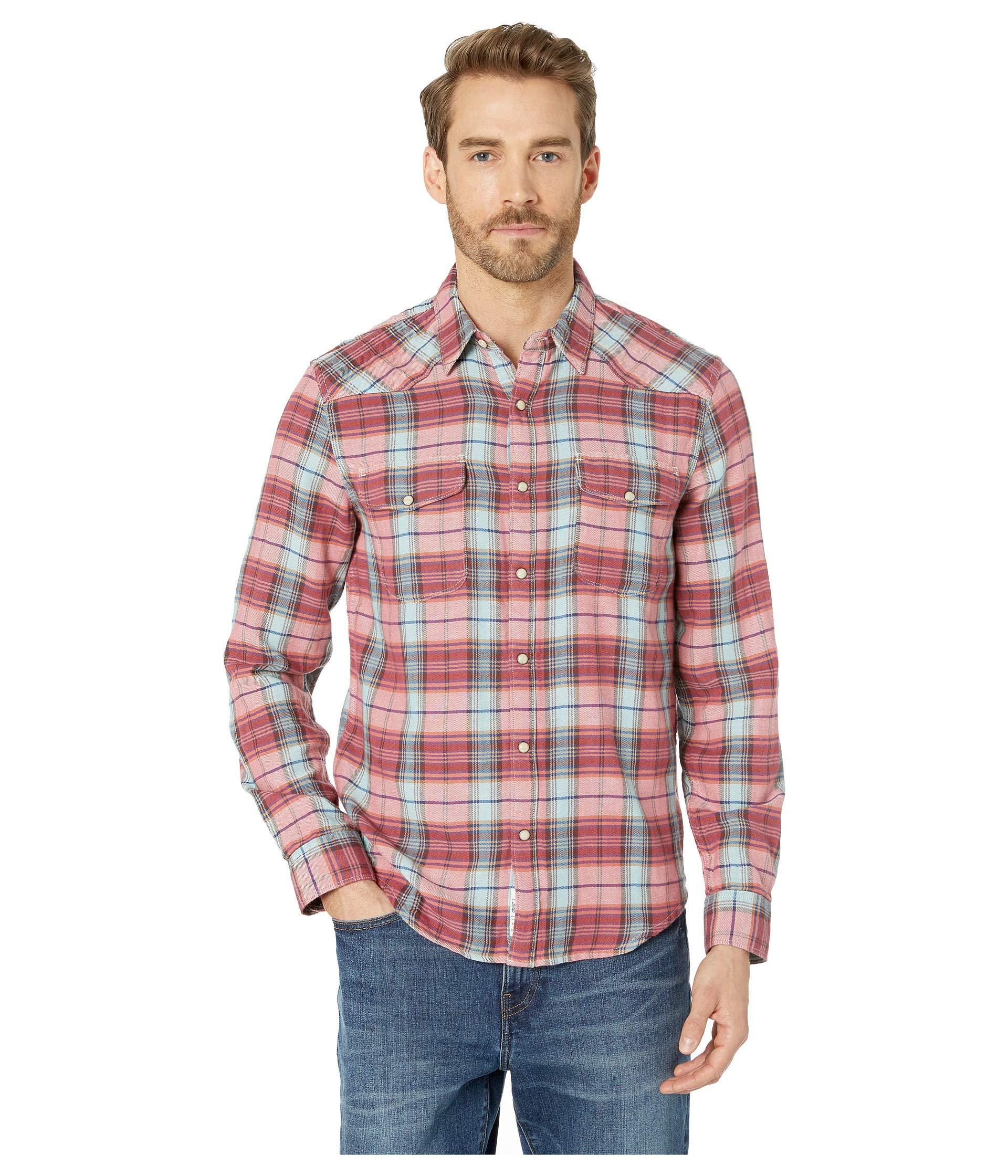 768923228d Lyst - Lucky Brand Long Sleeve Santa Fe Western Shirt (red Plaid ...