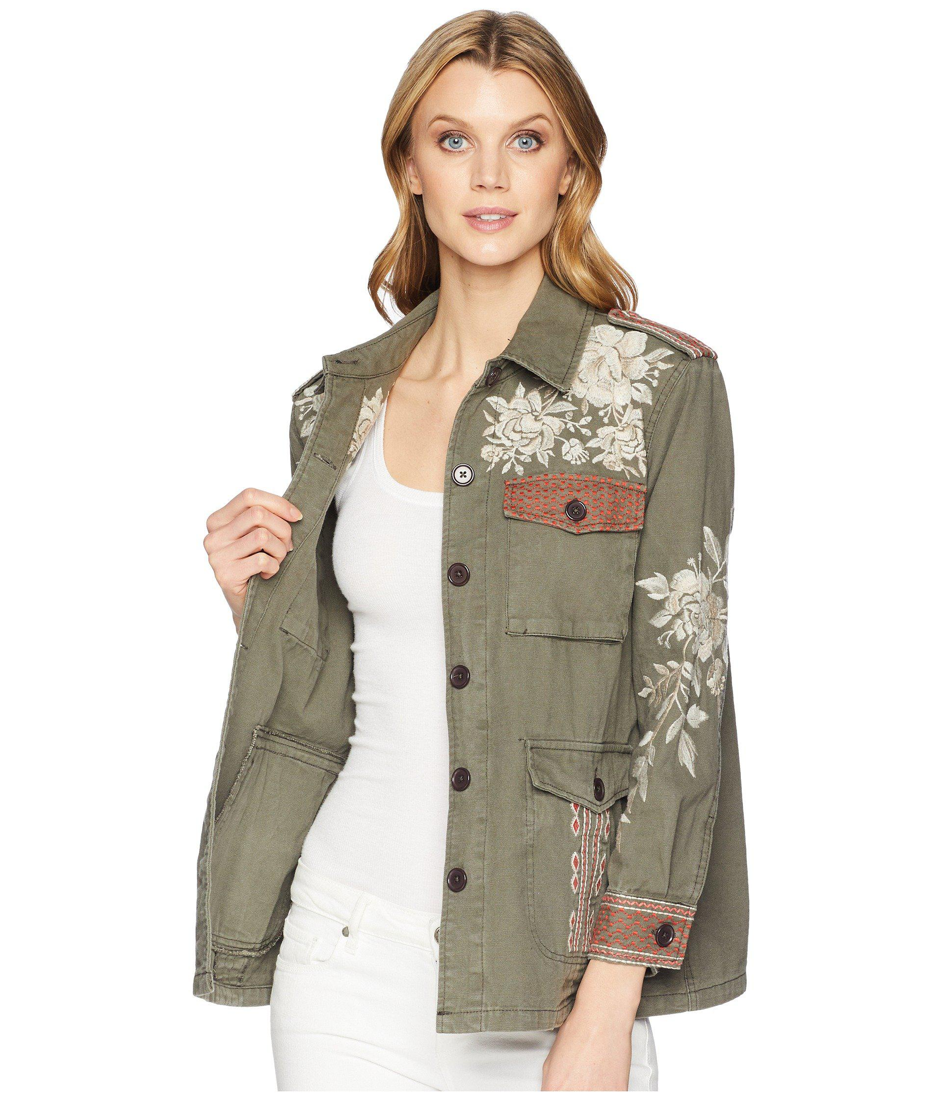Johnny Was Canvas Surya Military Jacket in Desert Green ...