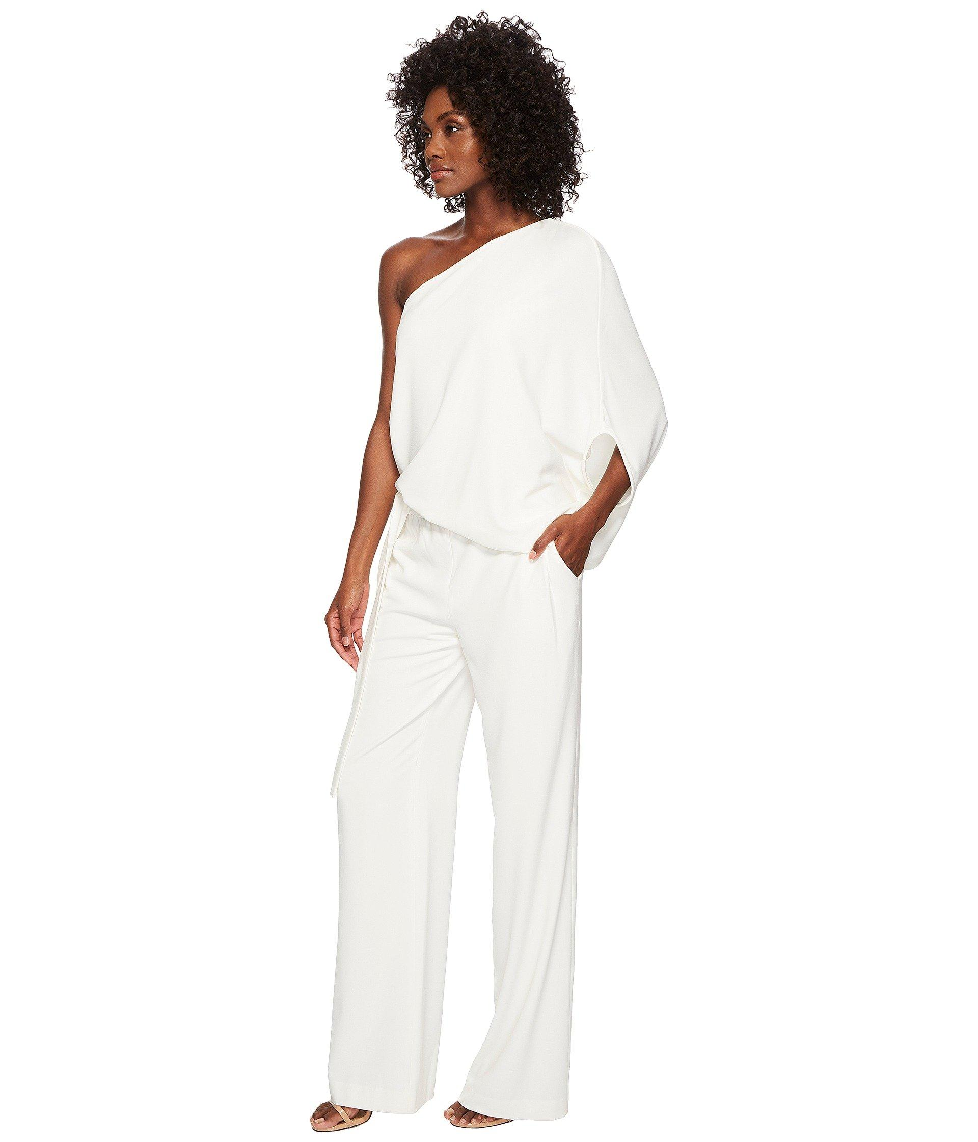 7d25b7dc17e1 Lyst - Halston Asymmetrical Crepe Jumpsuit (navy) Women s Jumpsuit   Rompers  One Piece in White