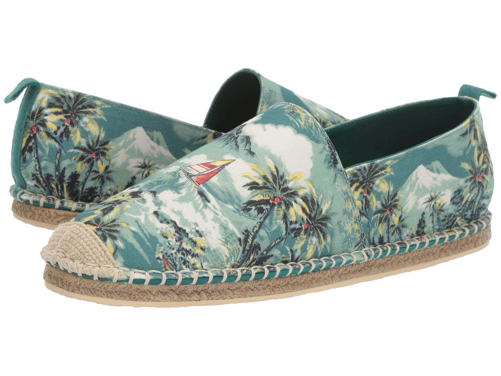 New Mens Polo Ralph Lauren Green Multi Barron Textile Shoes Canvas Slip On
