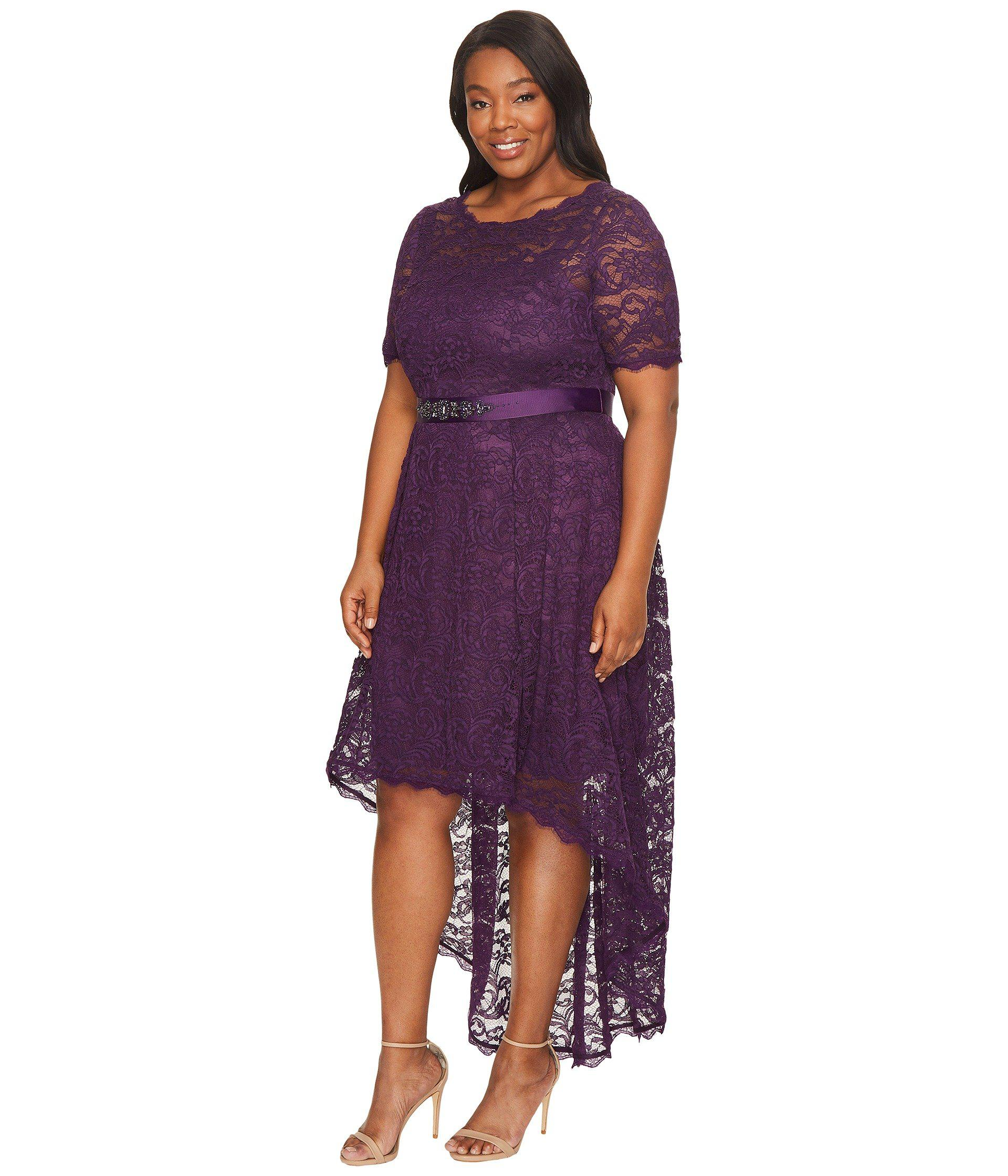 Plus Size Short Sleeve Lace Dress With High-low Hem