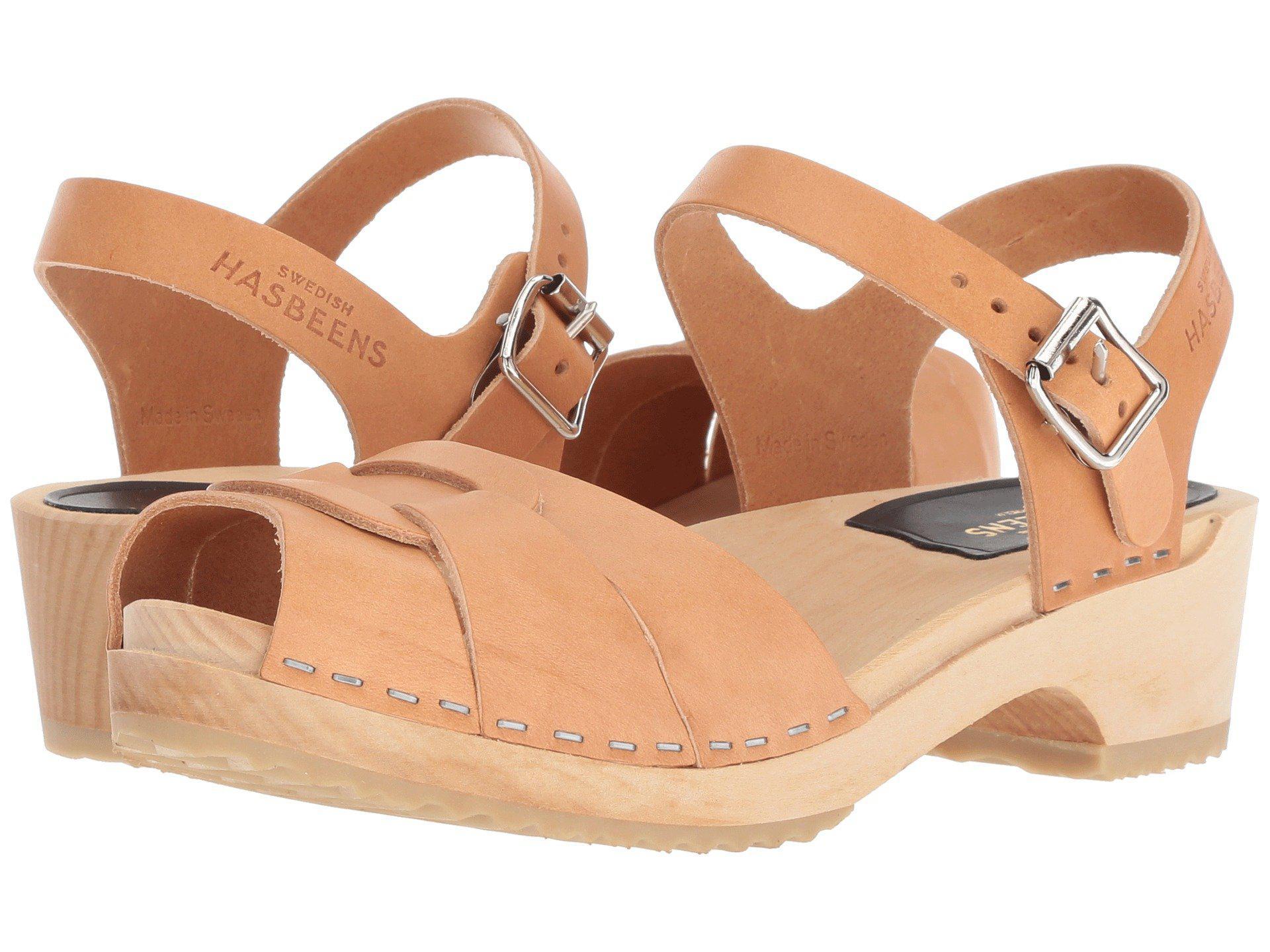 d9318ec145 Swedish Hasbeens - Multicolor Peep Toe Low (nature) Women's Sandals - Lyst.  View fullscreen
